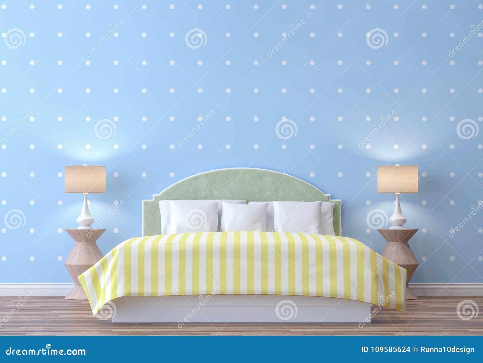 Chambre A Coucher En Pastel Avec L Image Bleue Et Blanche De Rendu