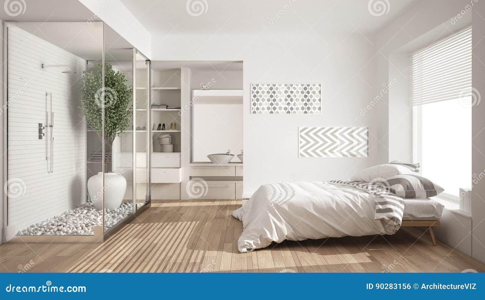 Chambre à Coucher Et Salle De Bains Minimalistes Avec La Douche Et La  Penderie,