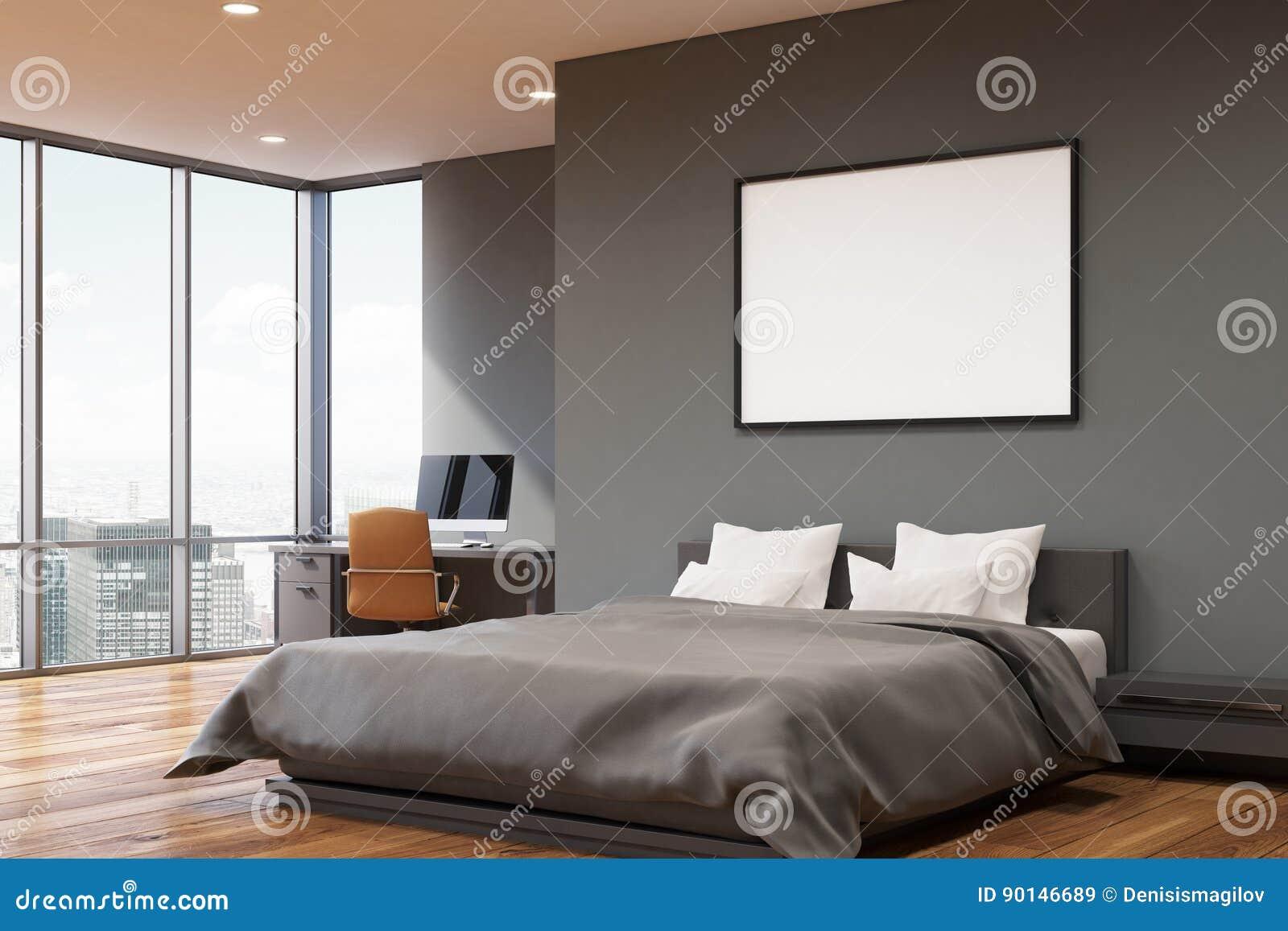 Chambre Gris Anthracite Et Blanc chambre à coucher gris-foncé de mur, coin illustration stock