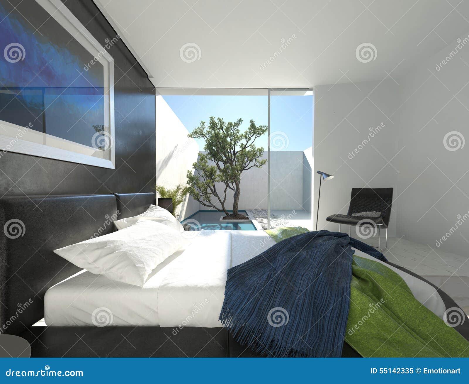 Chambre à coucher haut de gamme avec un lit en cuir noir