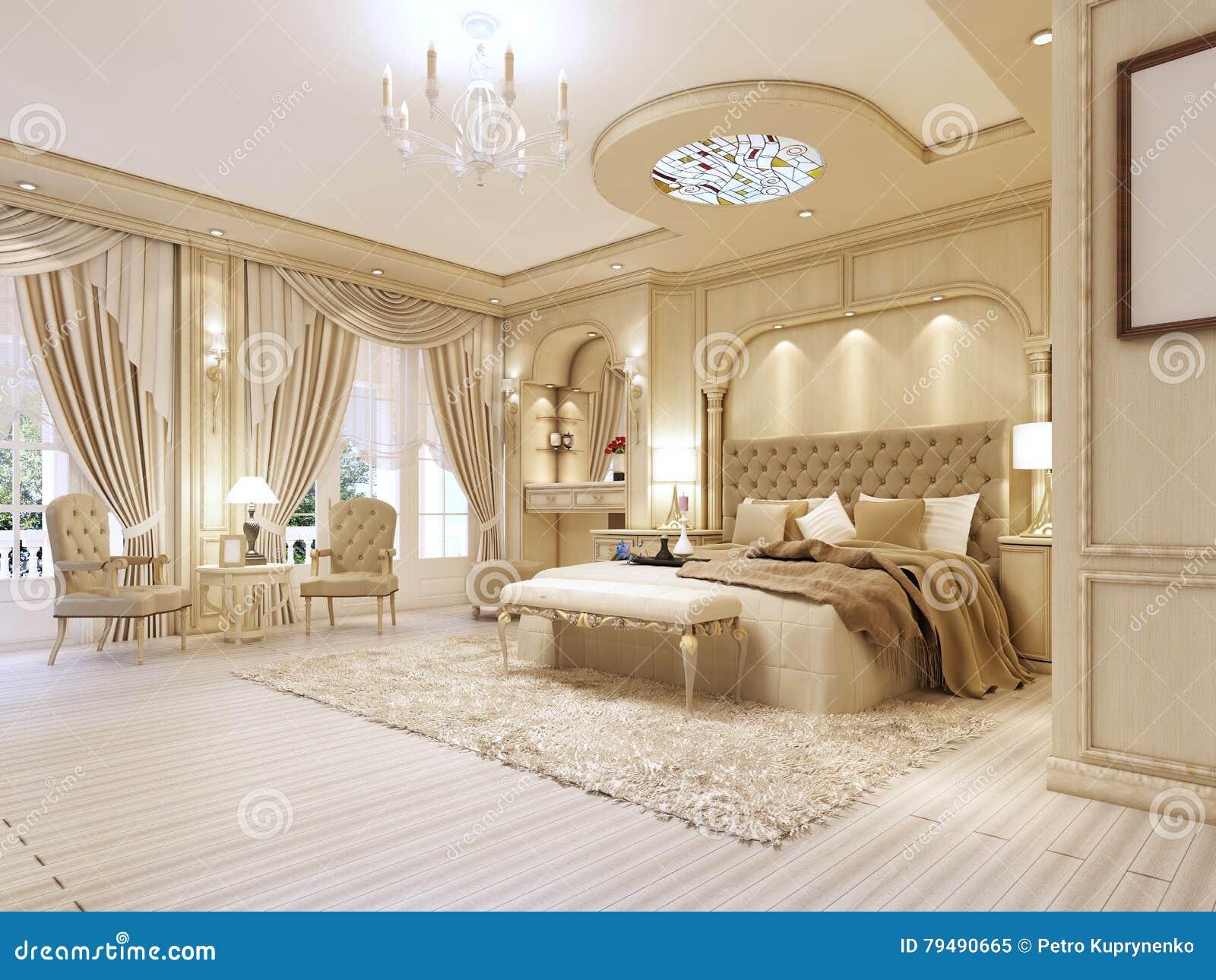 Chambre à Coucher Luxueuse Dans Des Couleurs En Pastel Dans Un Style  Néoclassique