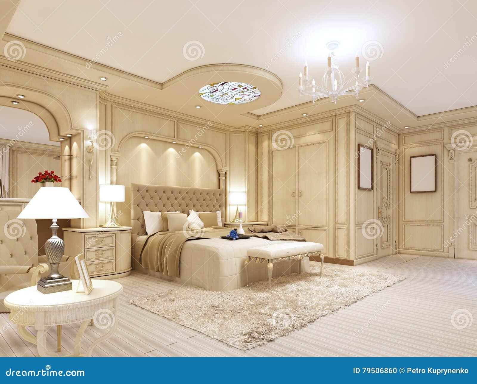 Chambre à Coucher Luxueuse Dans Des Couleurs En Pastel Dans Un ...