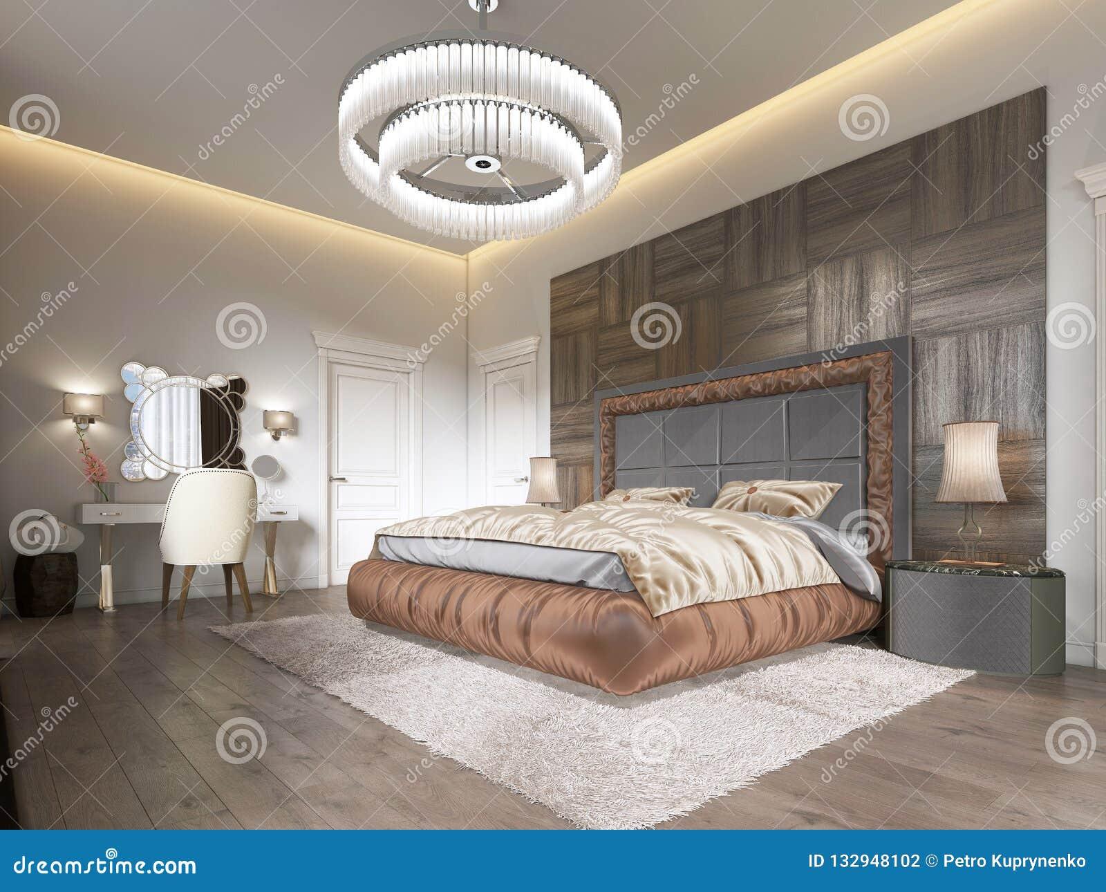 Chambre à Coucher Luxueuse Dans Le Style Moderne Avec De ...