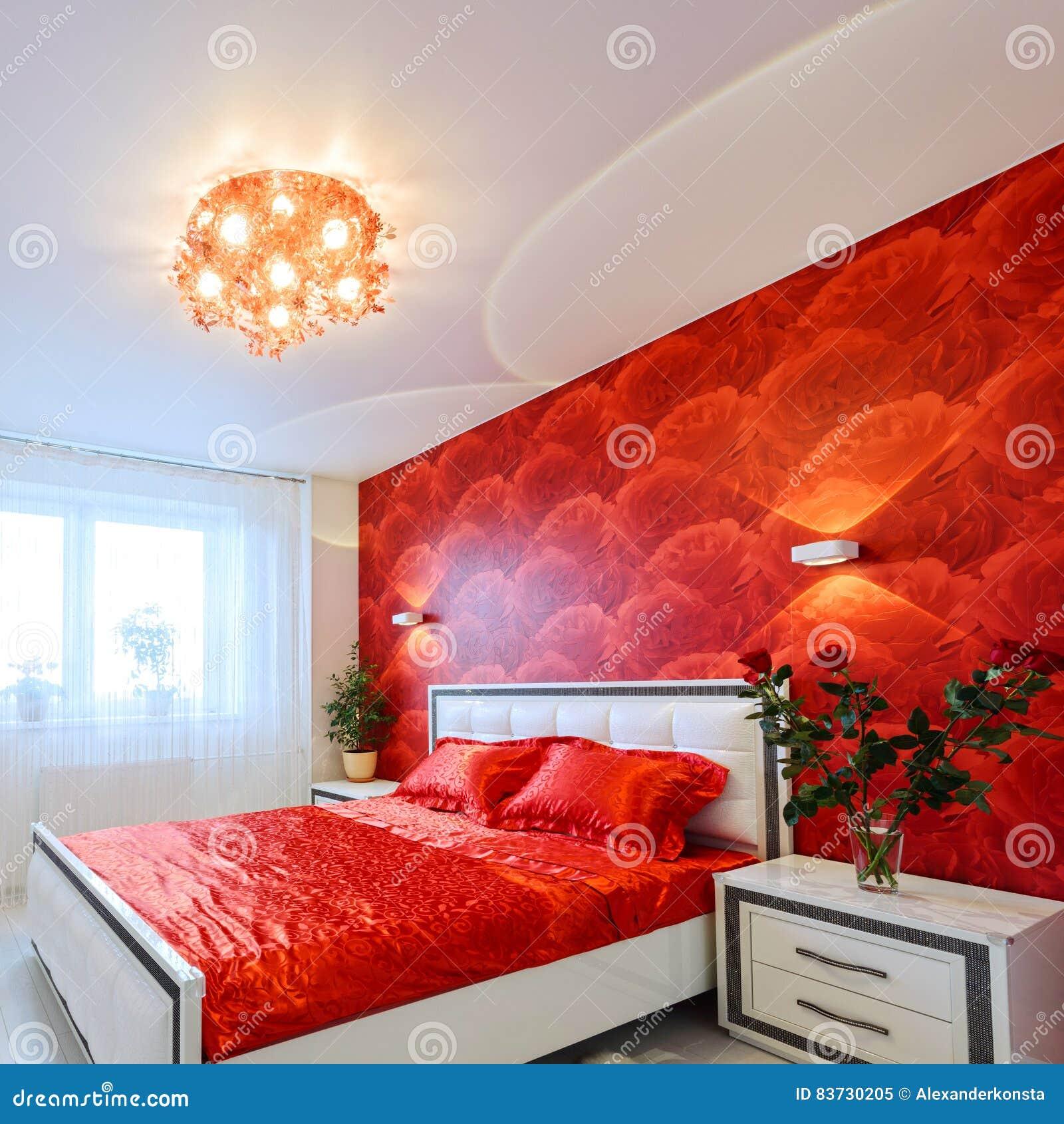 Chambre A Coucher Luxueuse En Rouge Et Blanc Image Stock Image Du