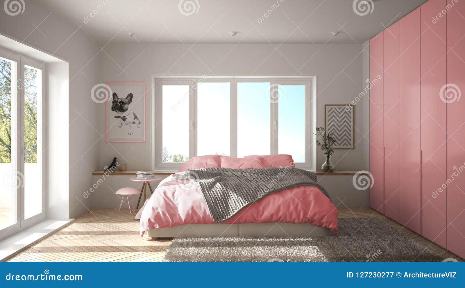 Chambre à Coucher Minimaliste Blanche Et Rose Scandinave ...