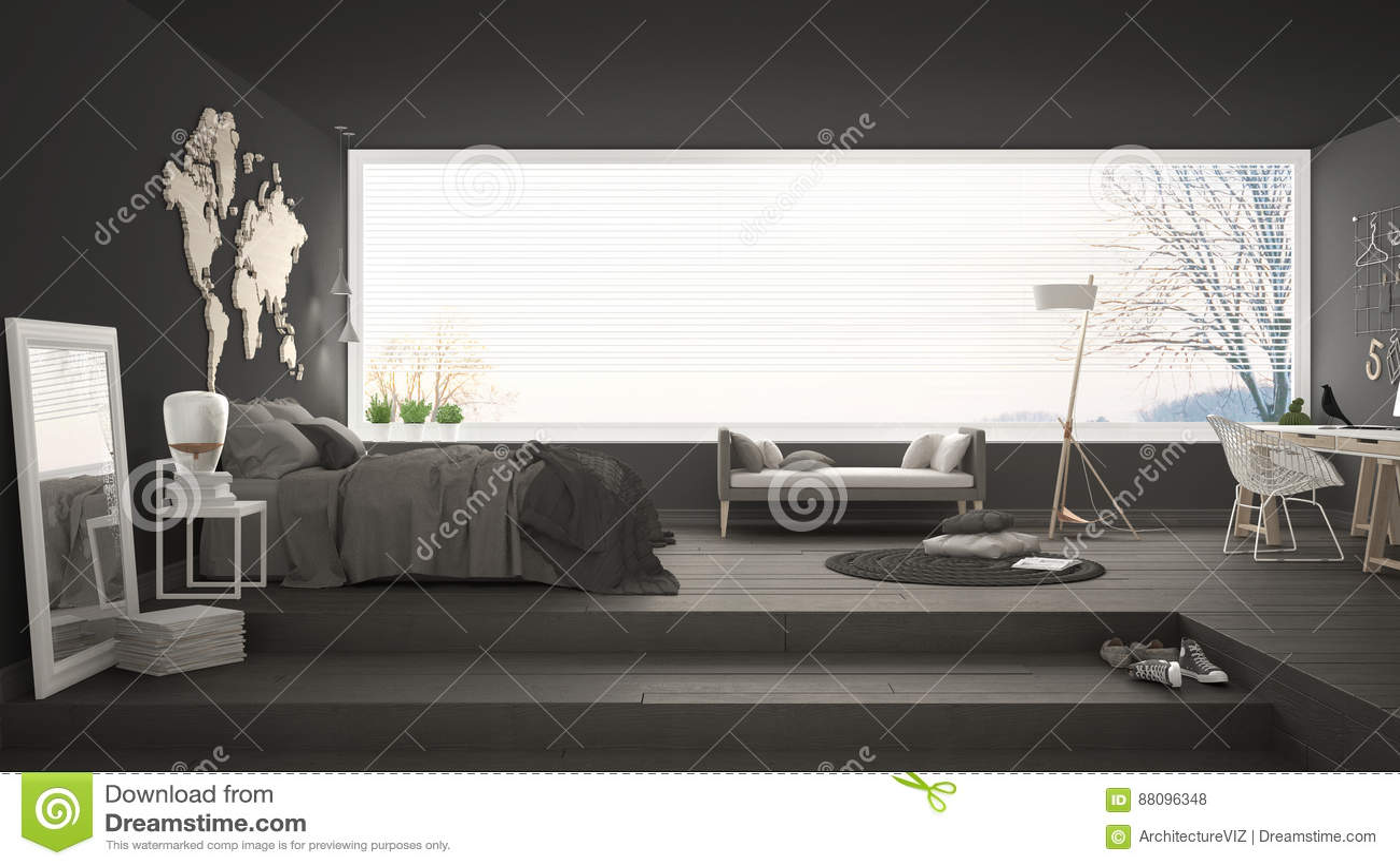 Chambre à coucher minimaliste scandinave avec le bureau moderne