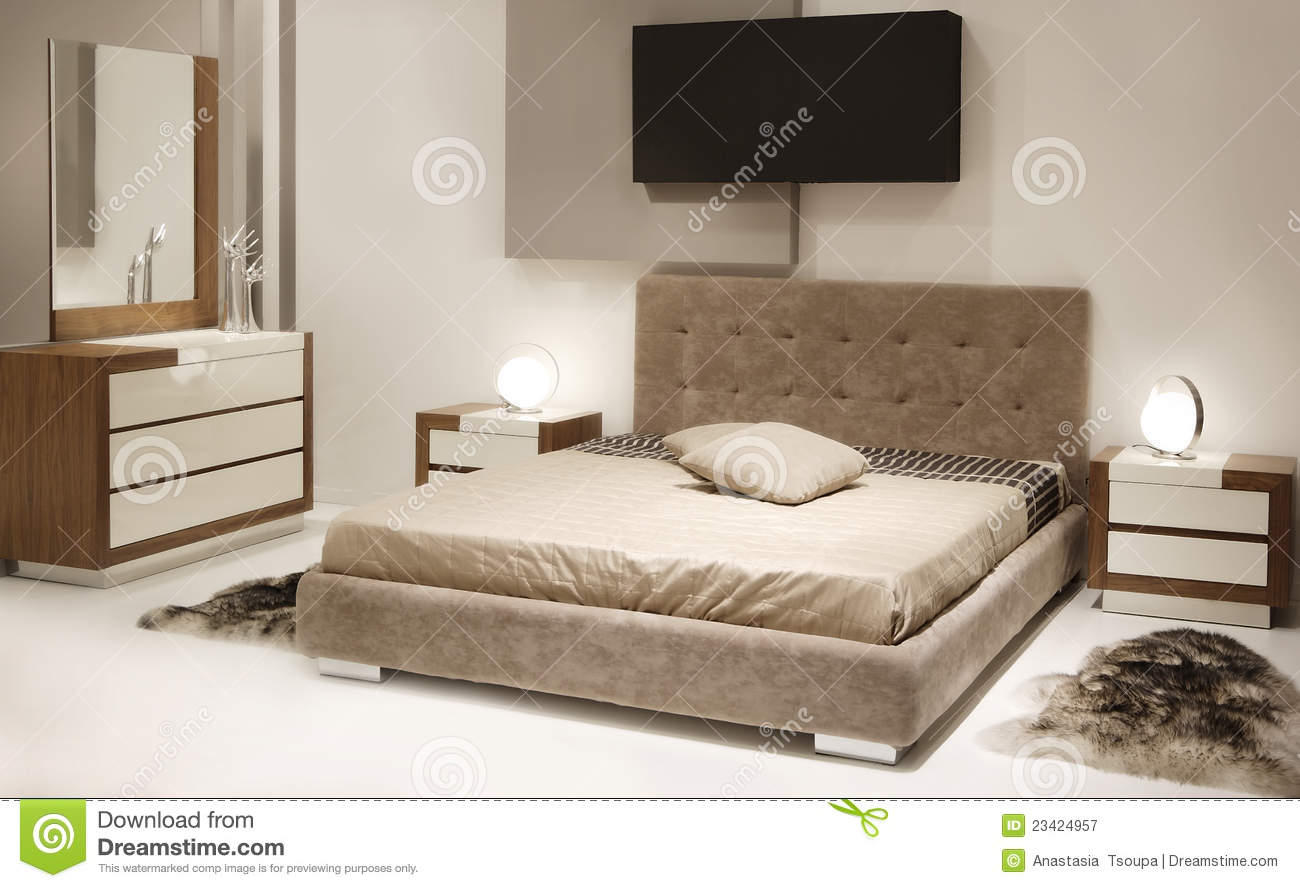 chambre coucher moderne image stock image du r ve 23424957. Black Bedroom Furniture Sets. Home Design Ideas
