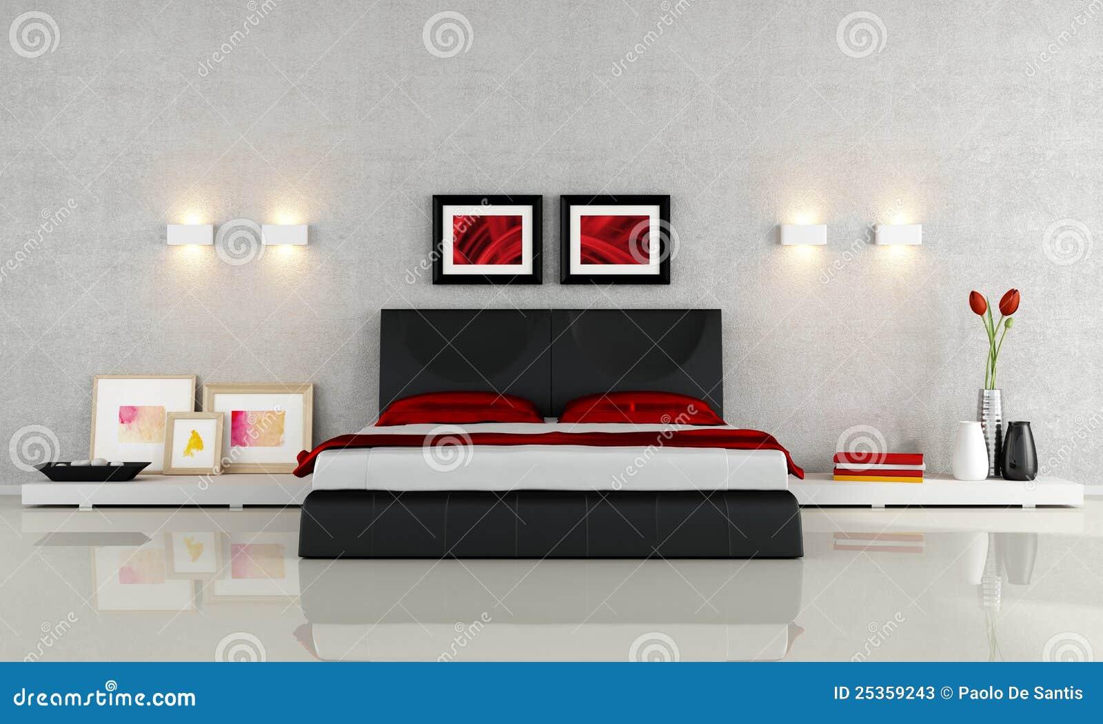 Chambre à Coucher Noire Et Rouge Moderne   Rendu