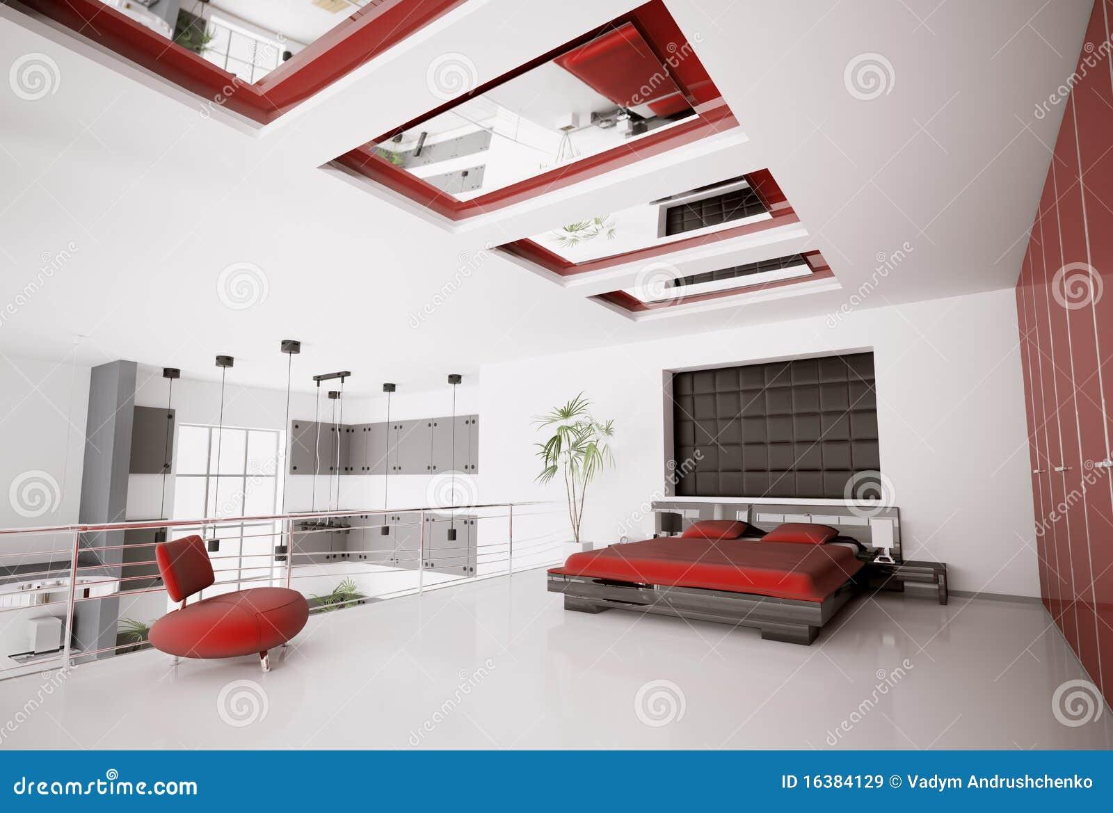 Chambre coucher moderne 3d int rieur images libres de for Interieur chambre a coucher