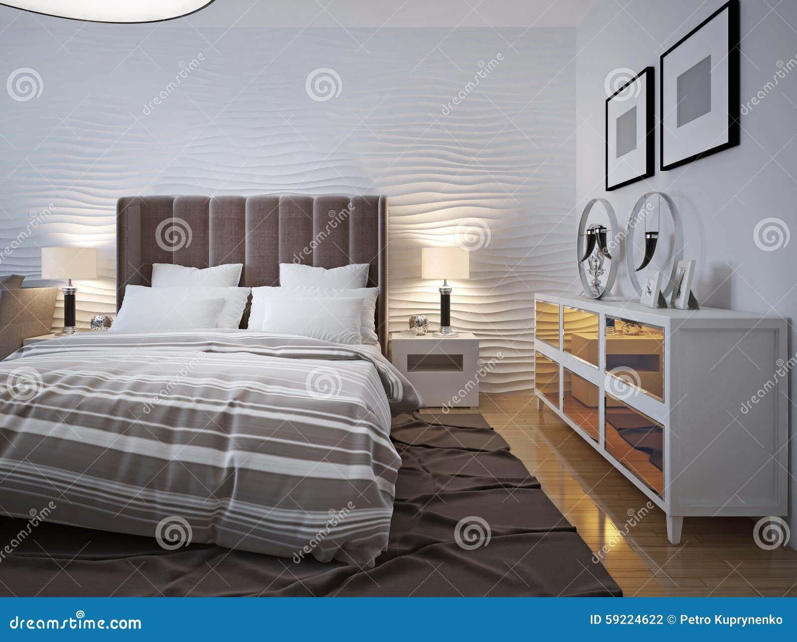 Chambre à Coucher Moderne Avec La Tendance De Buffet Photo ...