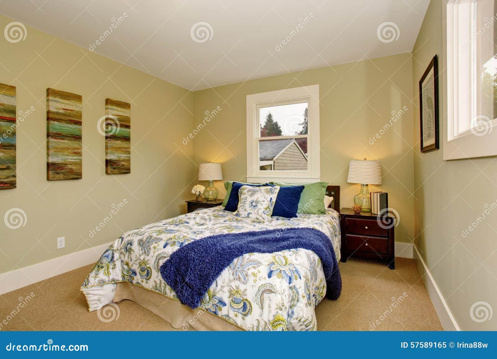 Chambre à Coucher Moderne Avec Le Décor Intérieur Vert Et ...