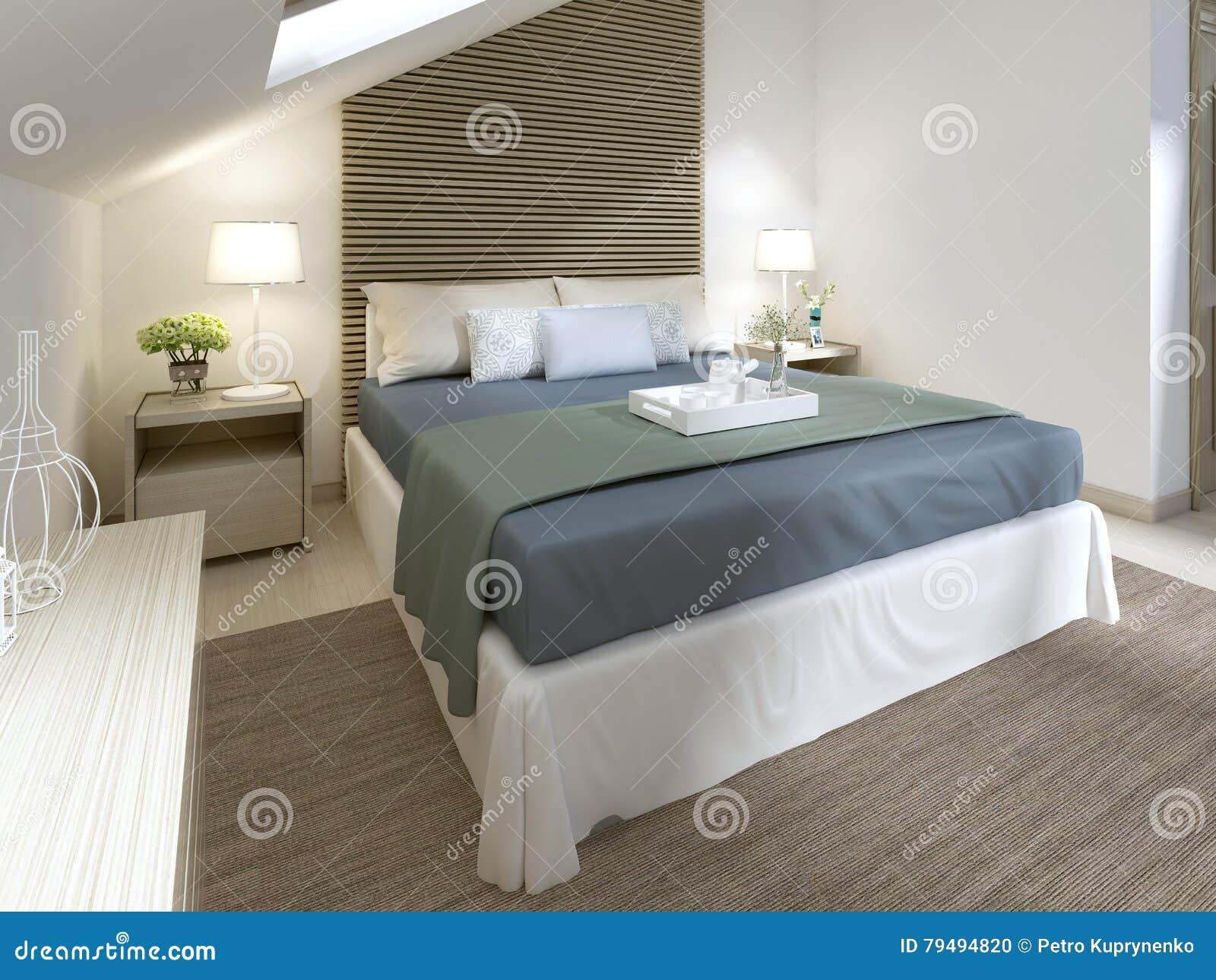 Chambre à Coucher Moderne Avec Le Grand Lit Avec La ...