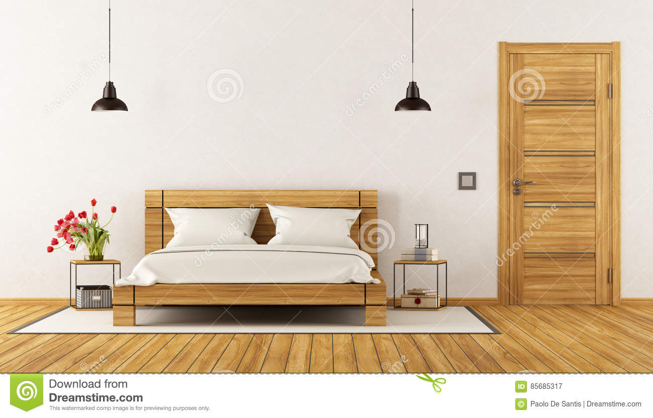 chambre coucher moderne avec le lit en bois illustration stock image 85685317. Black Bedroom Furniture Sets. Home Design Ideas
