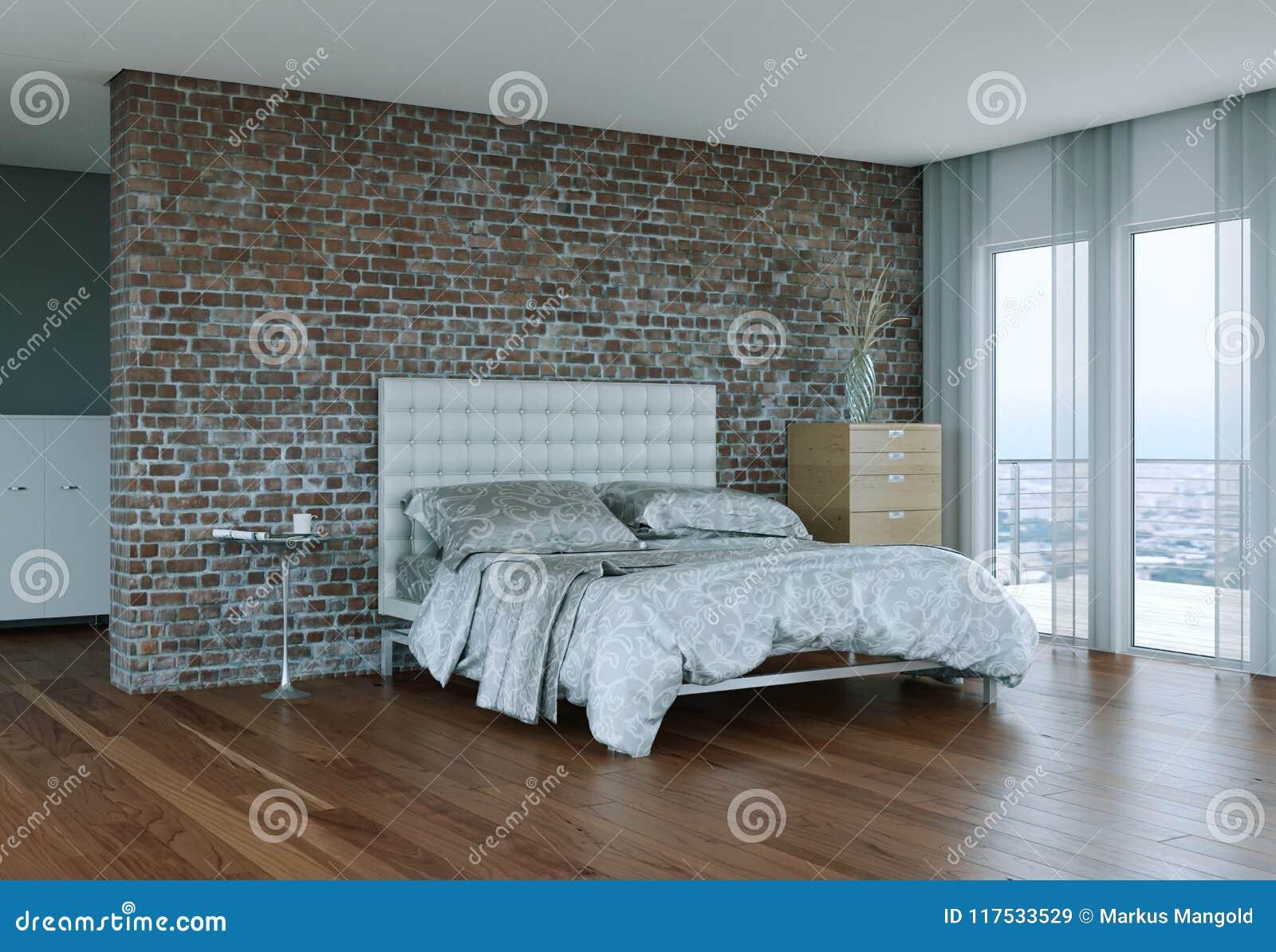 Chambre à Coucher Moderne Avec Le Mur En Pierre Et Décor Moderne ...