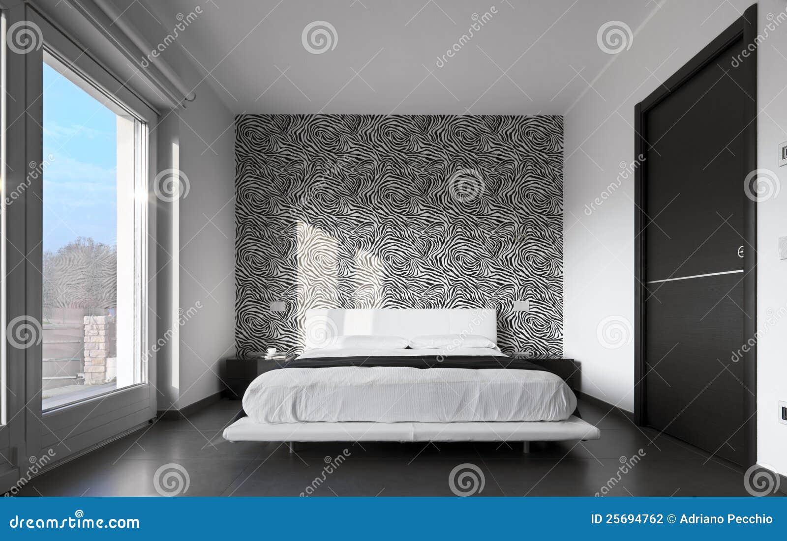 Chambre à Coucher Moderne Avec Le Papier De Mur Photo stock - Image ...
