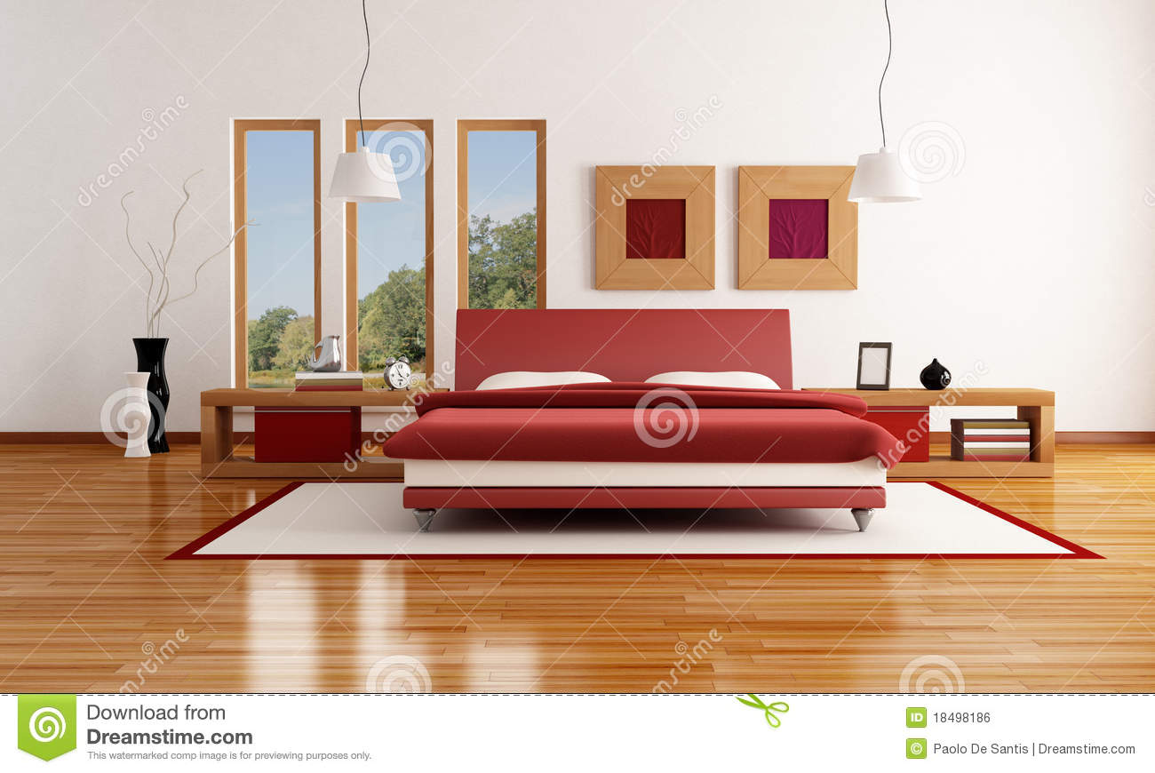 chambre coucher moderne rouge et blanche illustration. Black Bedroom Furniture Sets. Home Design Ideas