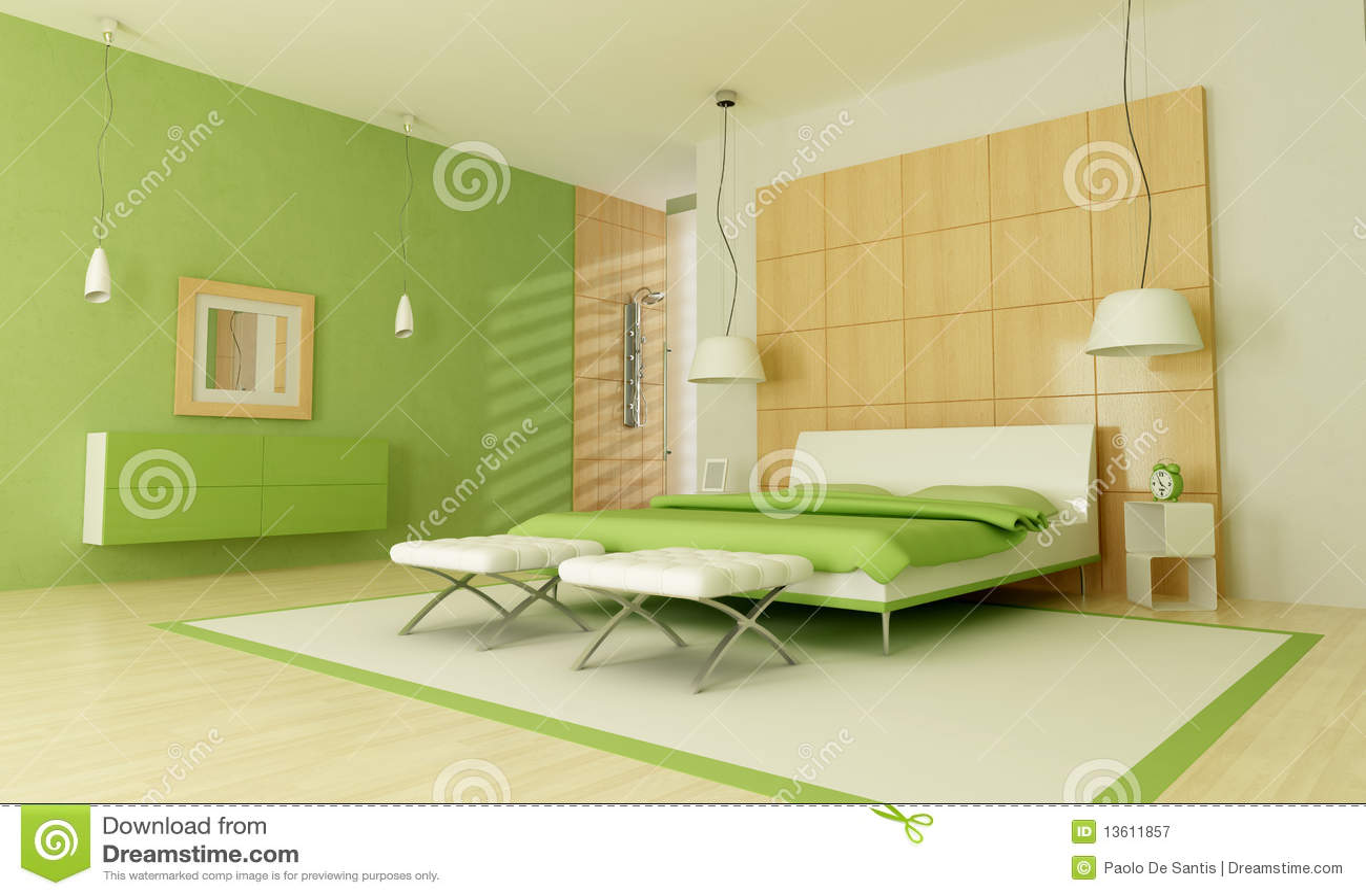 Chambre coucher moderne verte photographie stock libre for Chambre libre