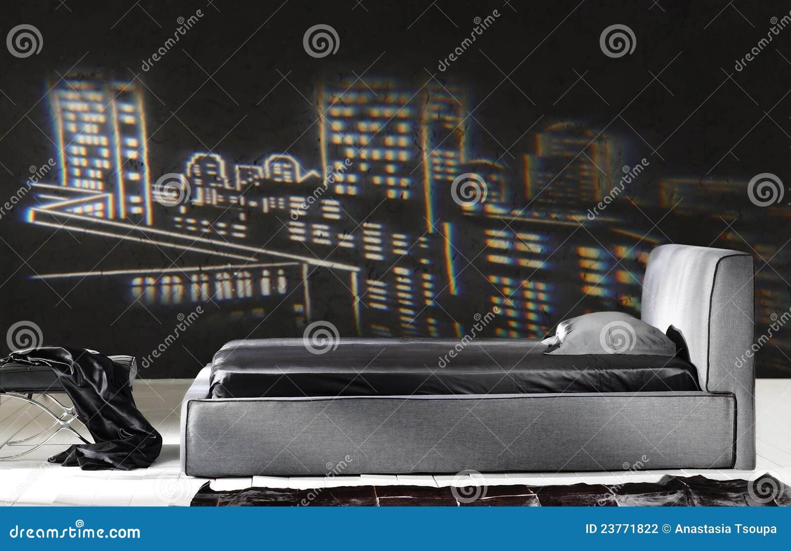 Chambre à Coucher Noire Moderne Photographie stock - Image ...