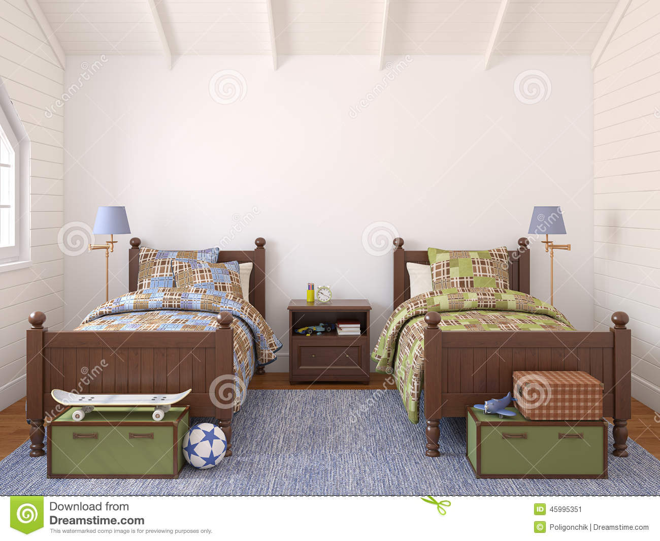 chambre coucher pour deux enfants illustration stock image 45995351. Black Bedroom Furniture Sets. Home Design Ideas