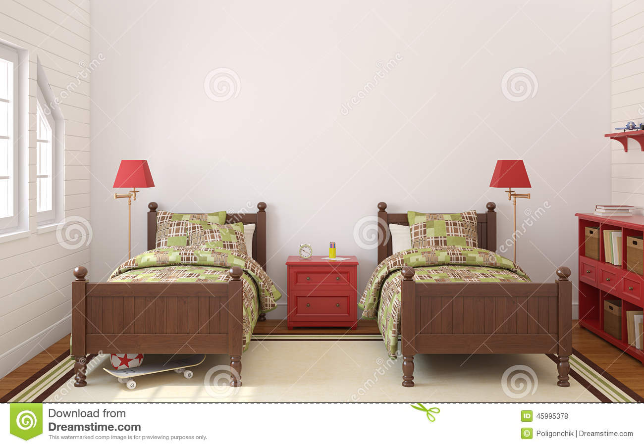 chambre coucher pour deux enfants illustration stock image 45995378. Black Bedroom Furniture Sets. Home Design Ideas