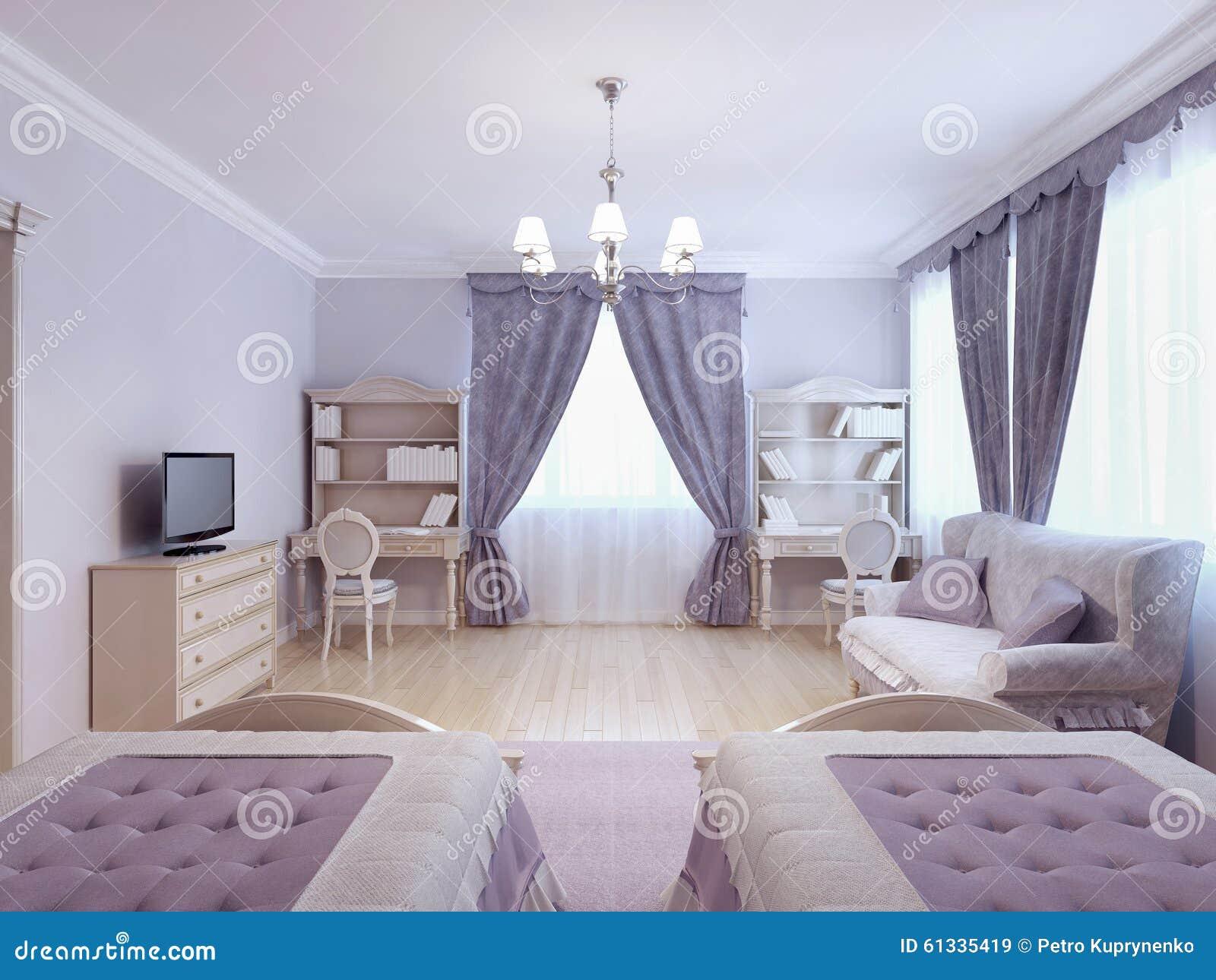 Chambre à Coucher Lilas De Fille Photo stock - Image du rose, pièce ...