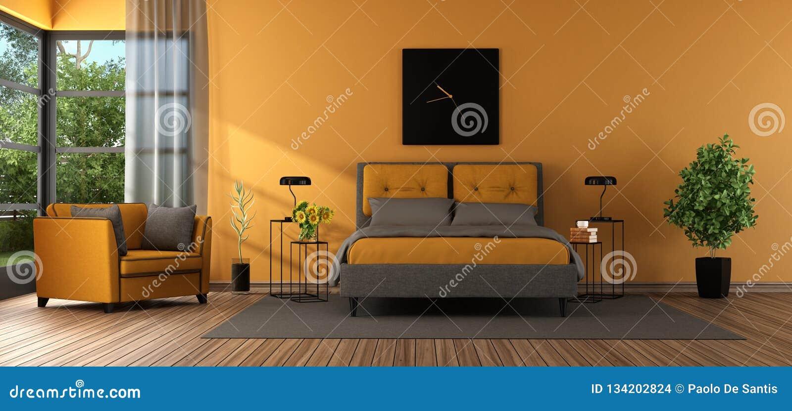 Chambre à Coucher Principale Grise Et Orange
