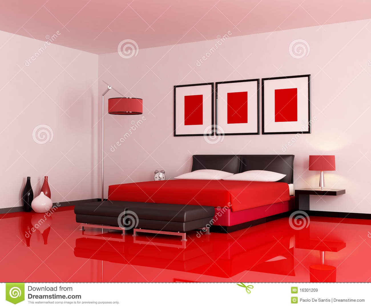 chambre coucher rouge et noire moderne images libres de droits image 16301209. Black Bedroom Furniture Sets. Home Design Ideas