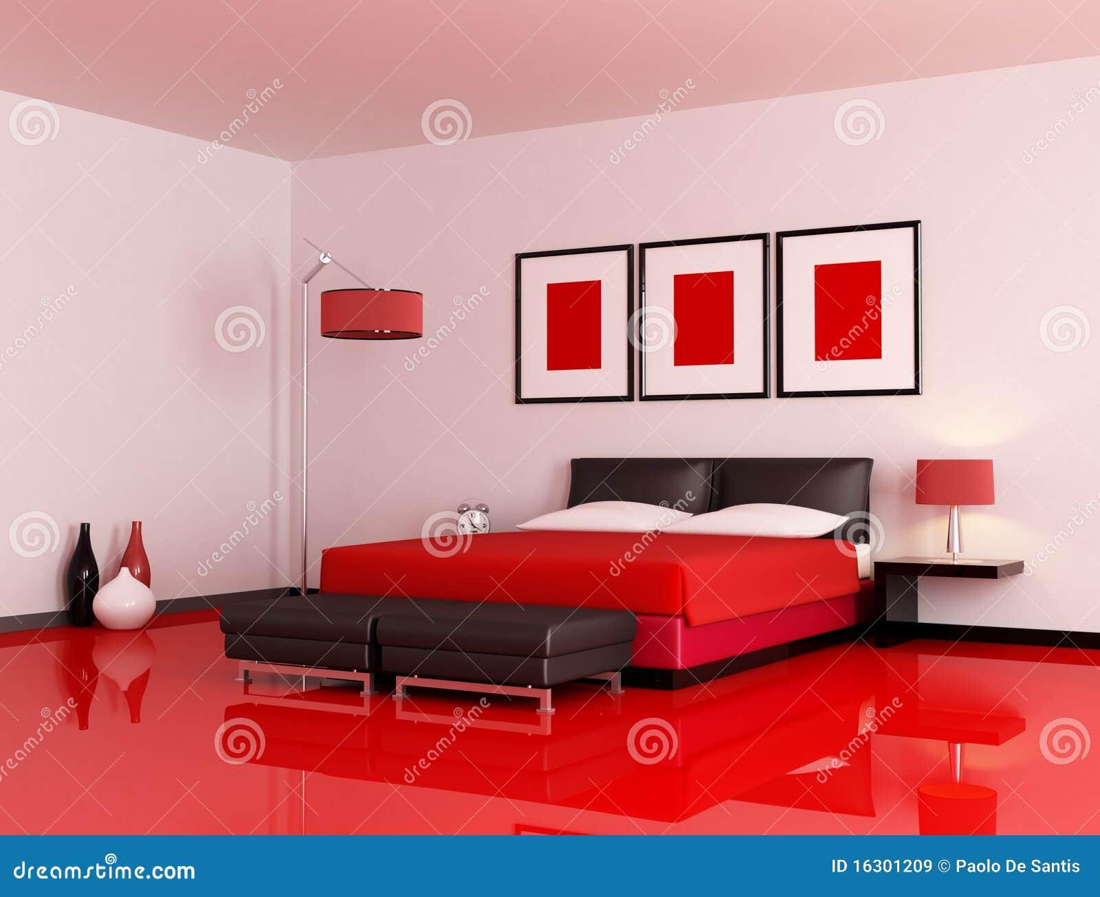 chambre coucher rouge et noire moderne illustration. Black Bedroom Furniture Sets. Home Design Ideas