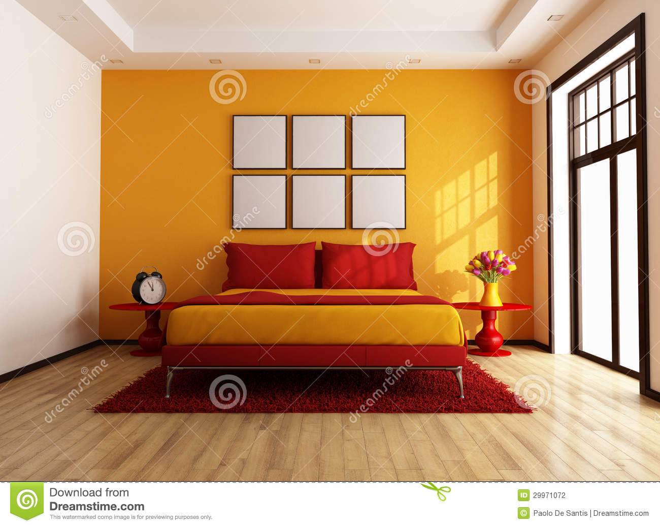 chambre coucher contemporaine rouge et orange. Black Bedroom Furniture Sets. Home Design Ideas