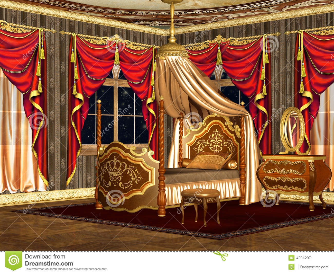 Chambre à coucher royale illustration stock. Illustration du ...