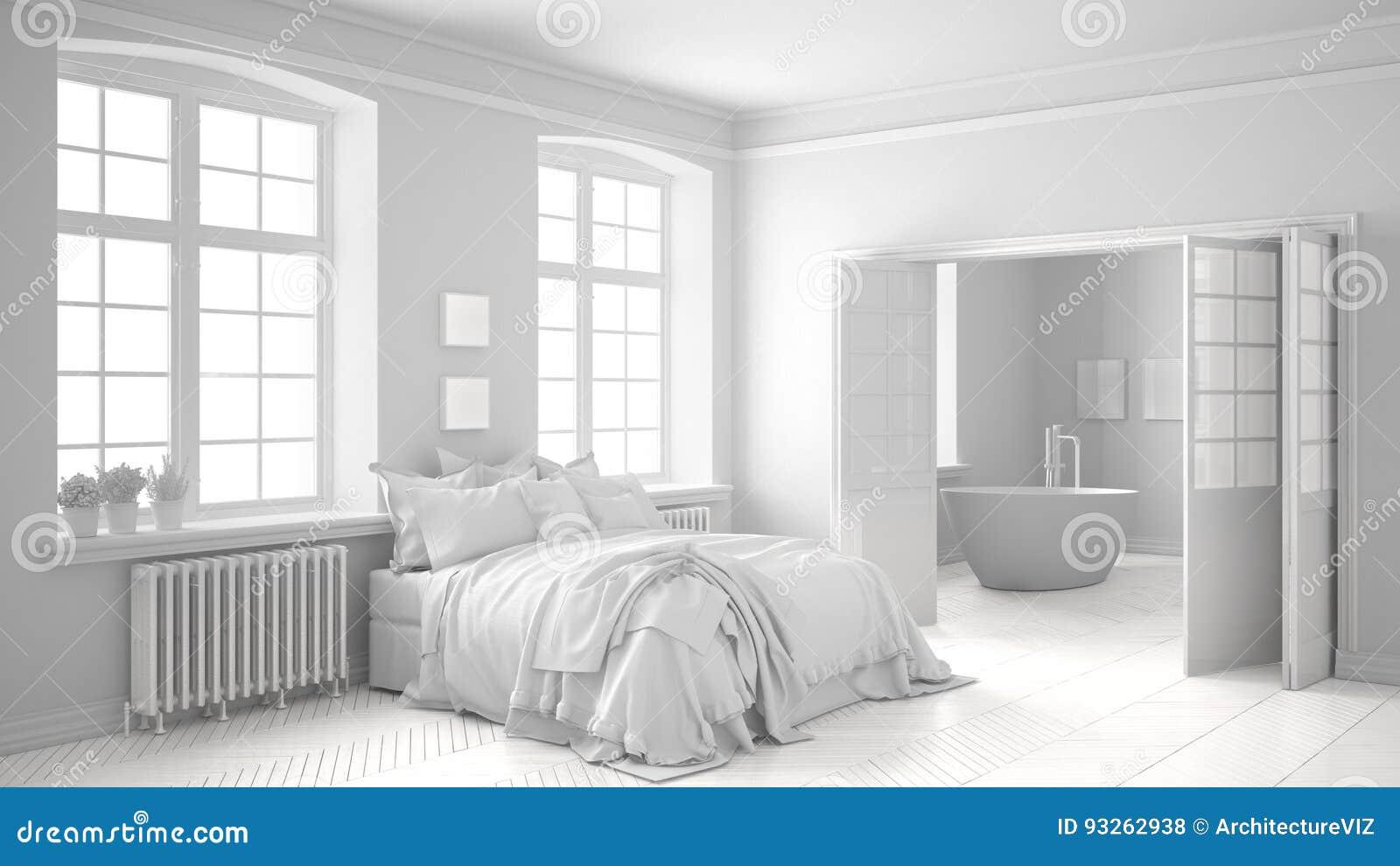 Chambre à Coucher Scandinave Blanche Totale Avec La Salle De Bains à ...