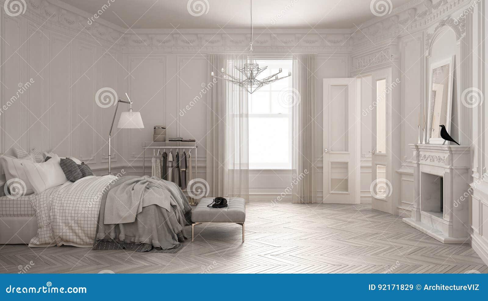 Chambre à Coucher Scandinave Moderne Dans Le Salon Classique De Vintage Avec