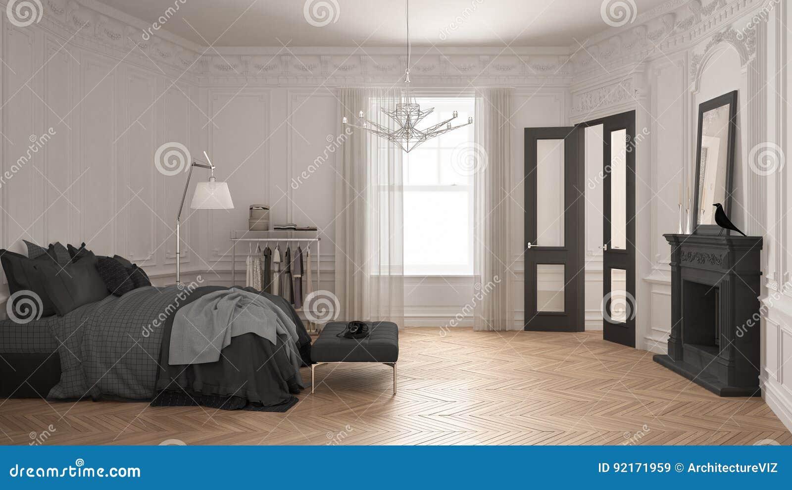 Chambre à Coucher Scandinave Moderne Dans Le Salon Classique De ...