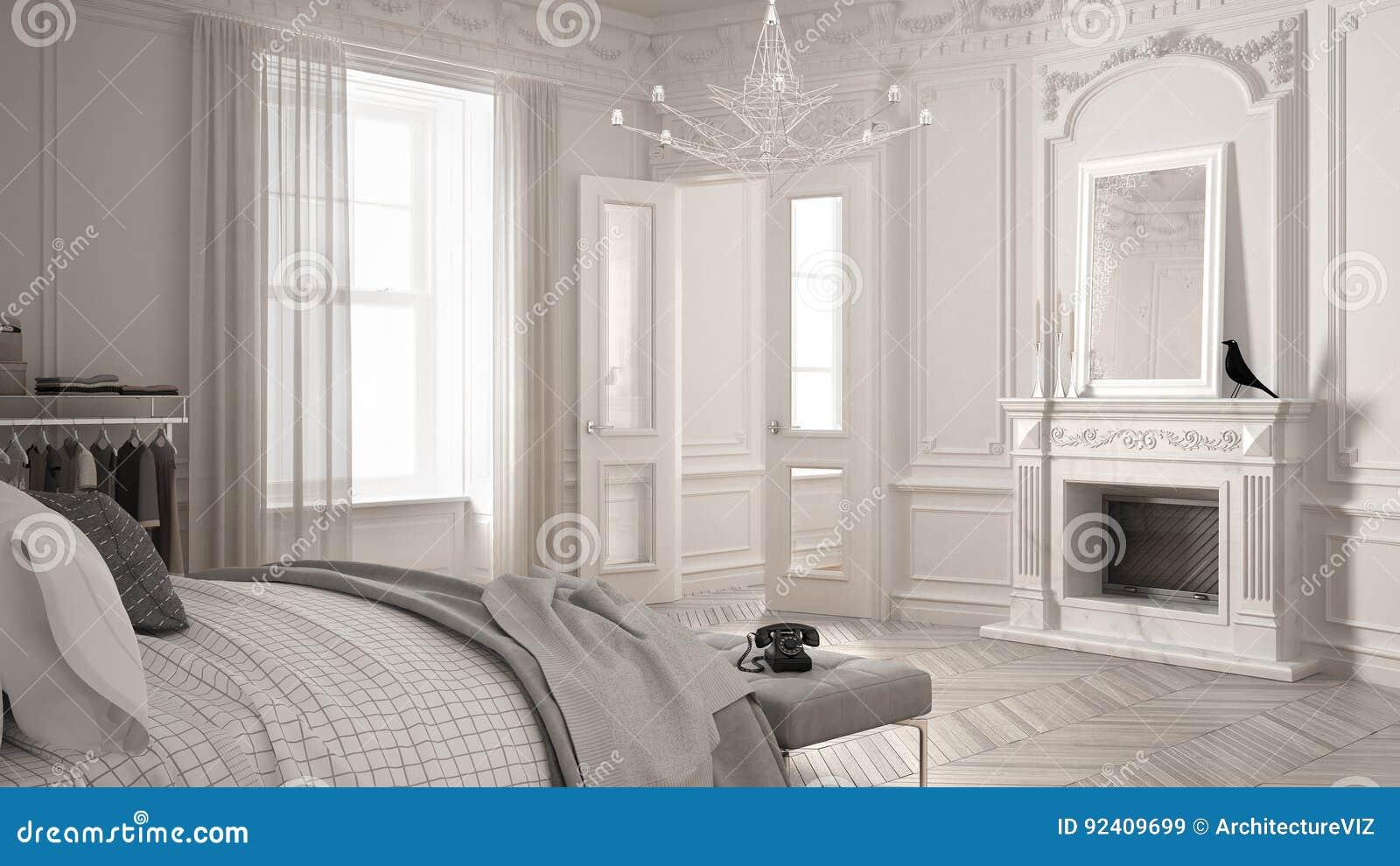 Chambre à Coucher Scandinave Moderne Dans Le Salon Classique ...