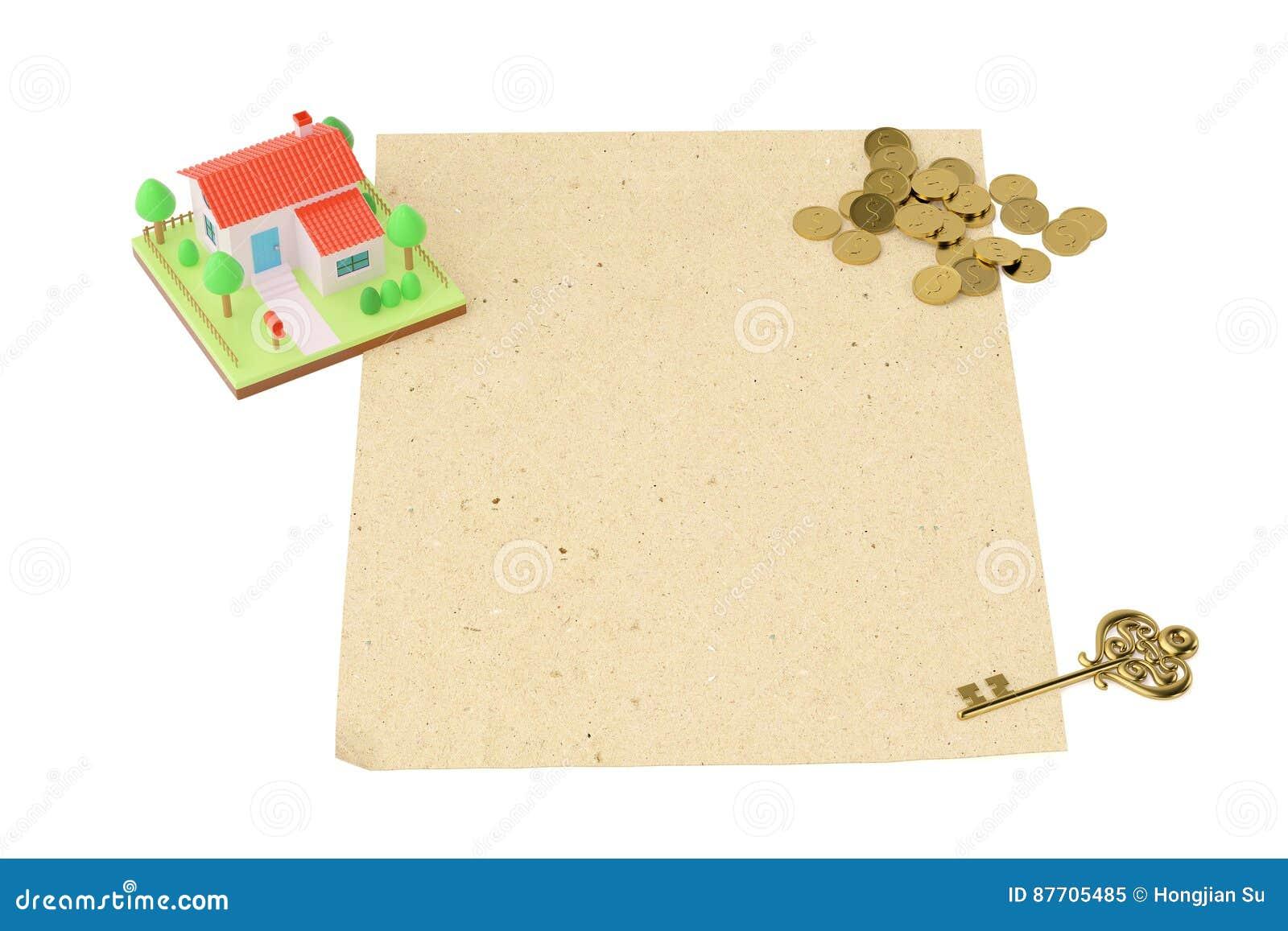 Chambre avec des pièces de monnaie et la clé, sur le vieux papier illustration 3D