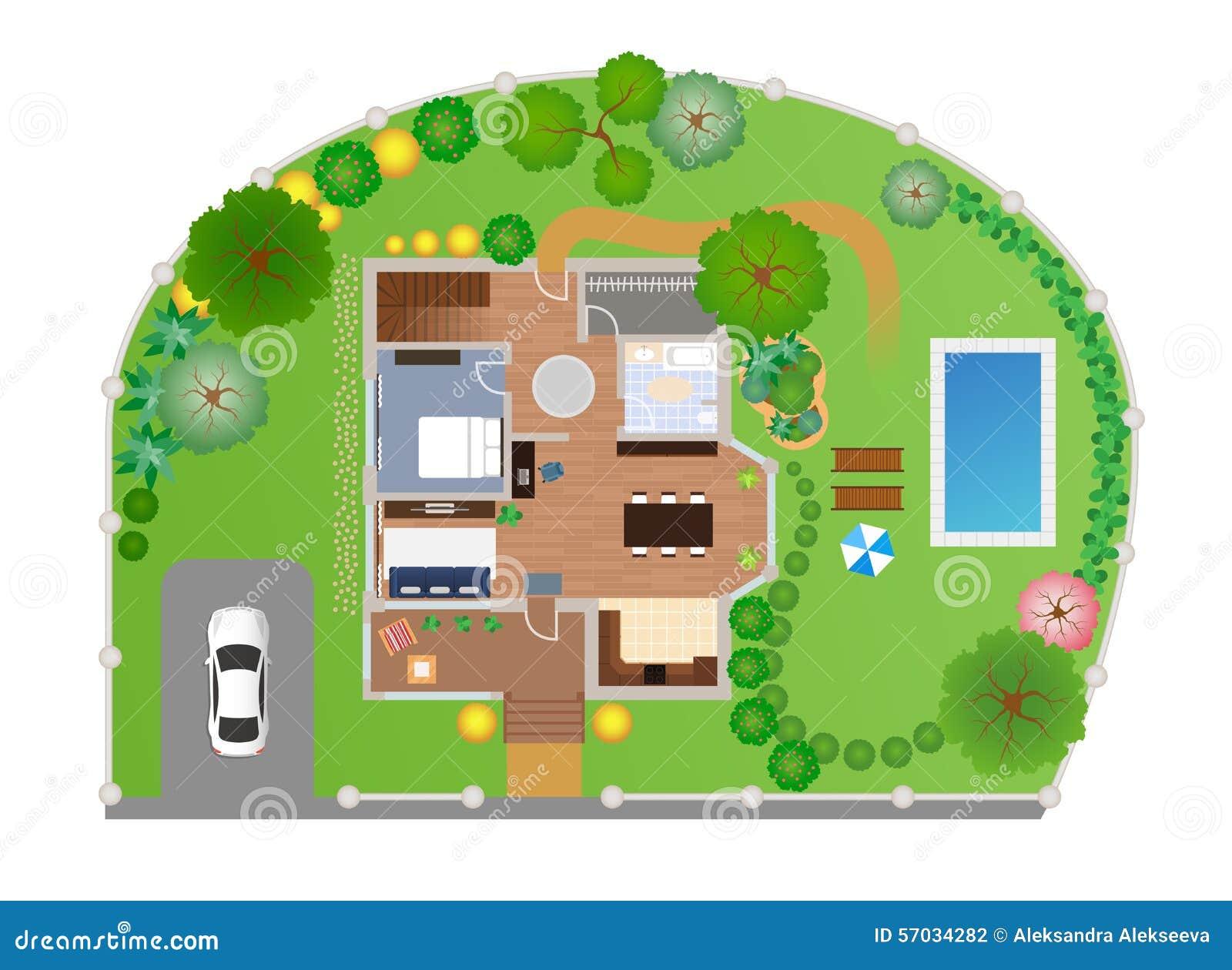 Chambre avec la disposition de jardin, vecteur
