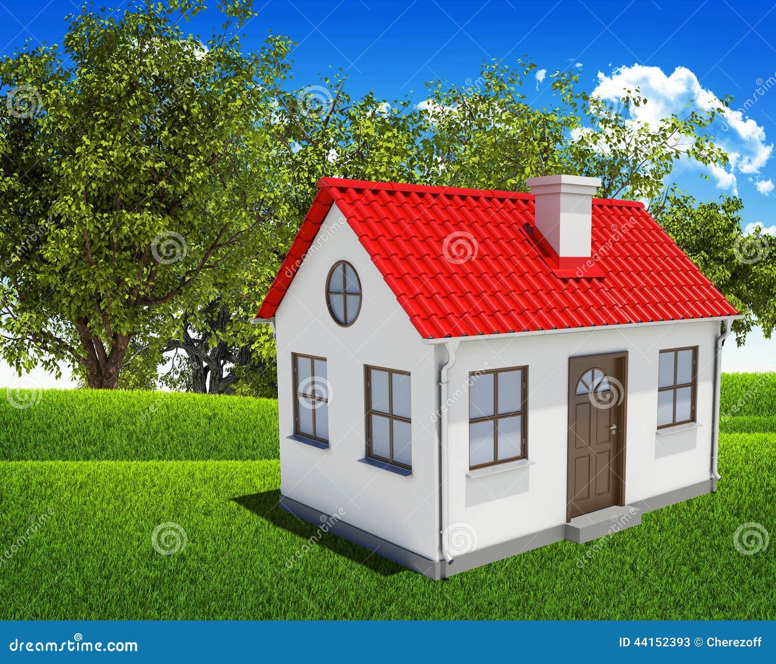 Chambre, champ vert, forêt et ciel bleu photo stock   image: 44152393