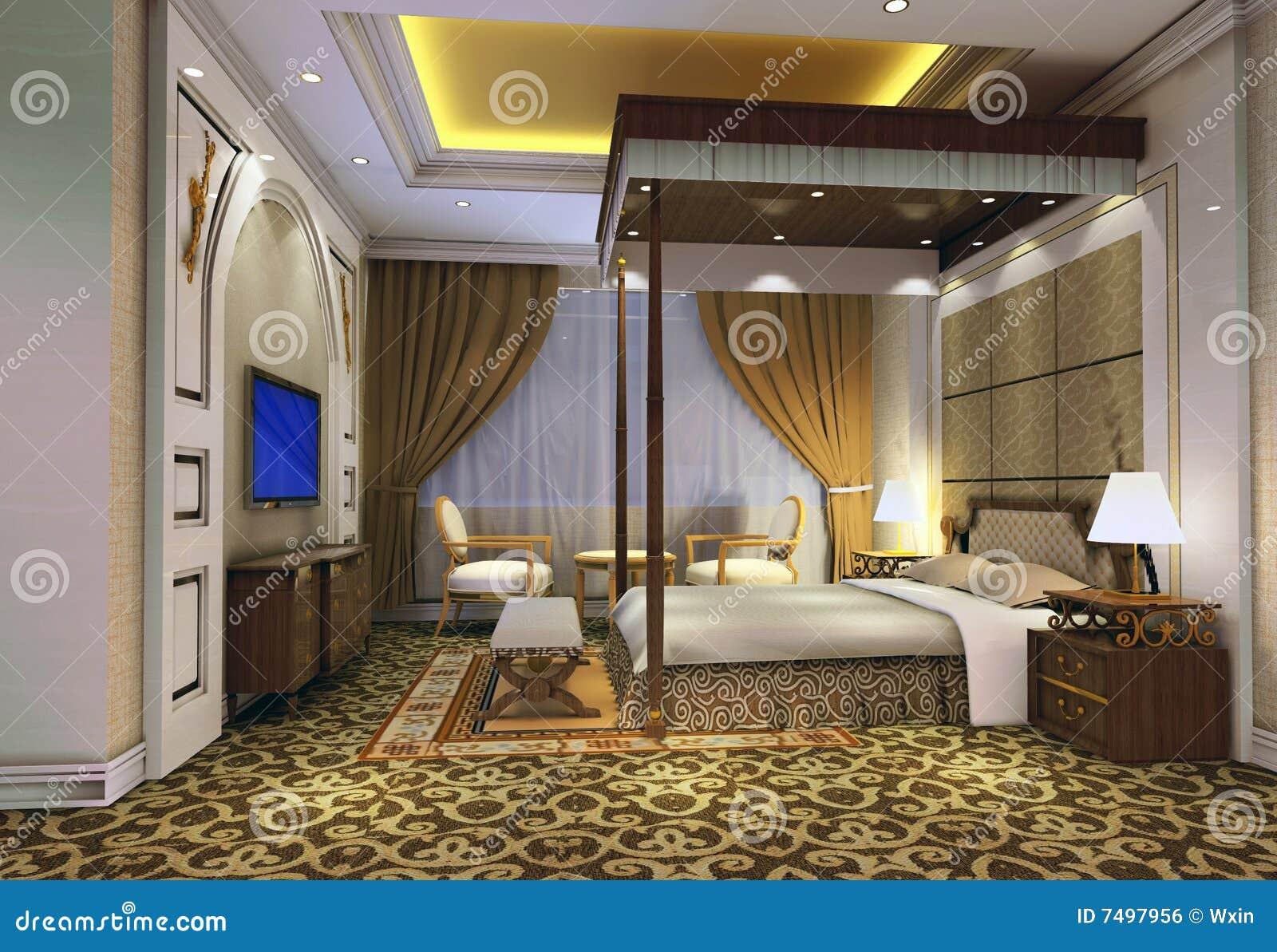 Chambre coucher 3d rendant 3 image libre de droits for Chambre 3d