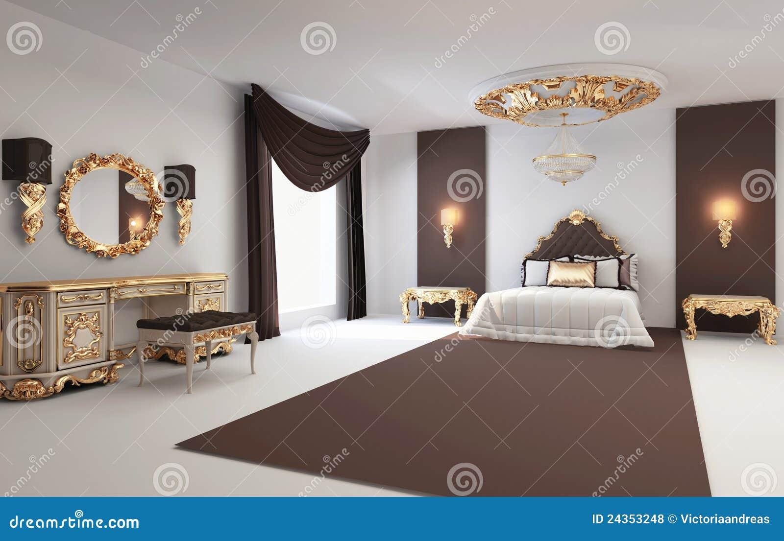 Chambre à coucher de luxe avec les meubles d'or photographie stock ...