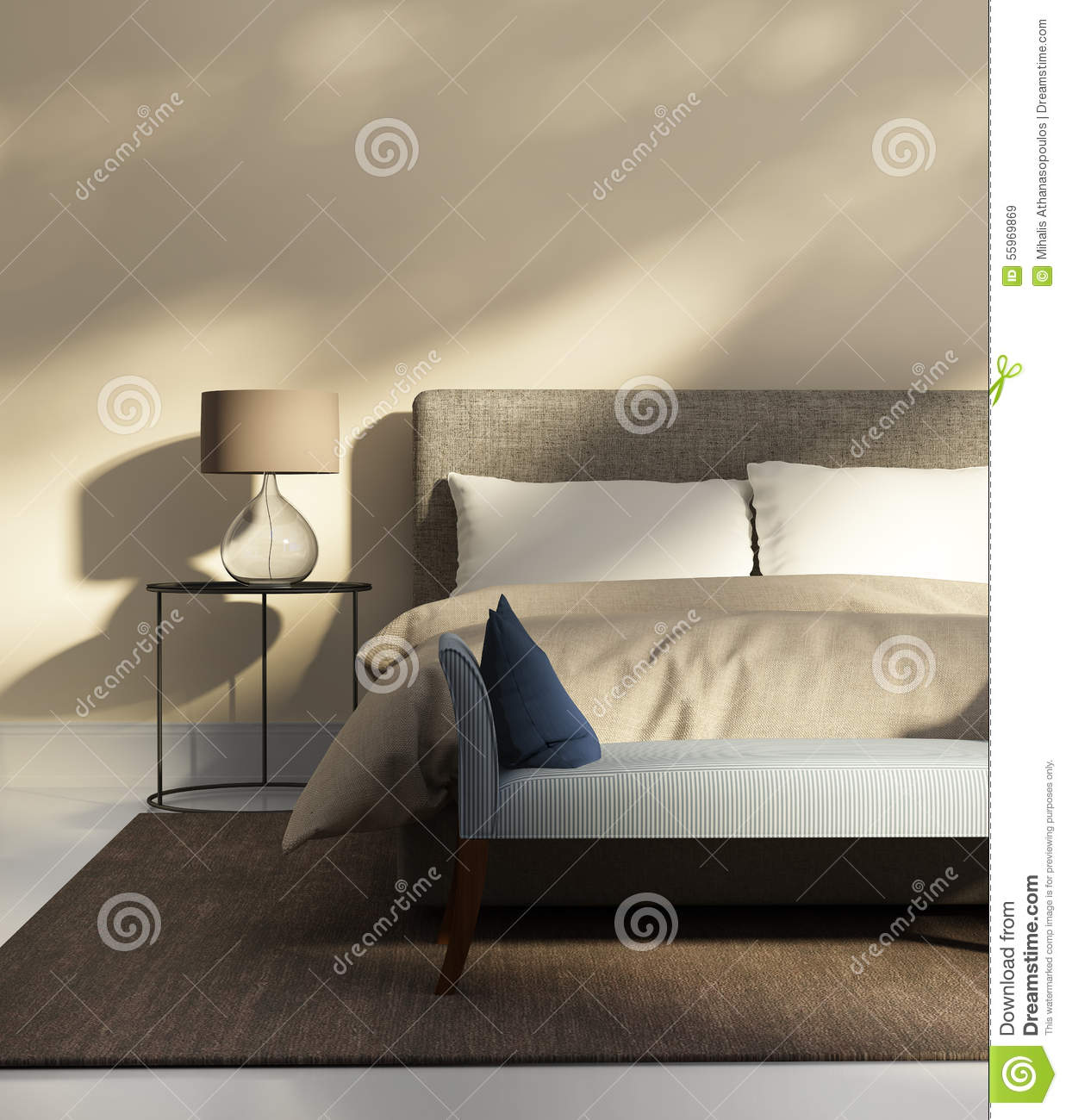 chambre coucher beige avec un banc photo stock image 55969869. Black Bedroom Furniture Sets. Home Design Ideas