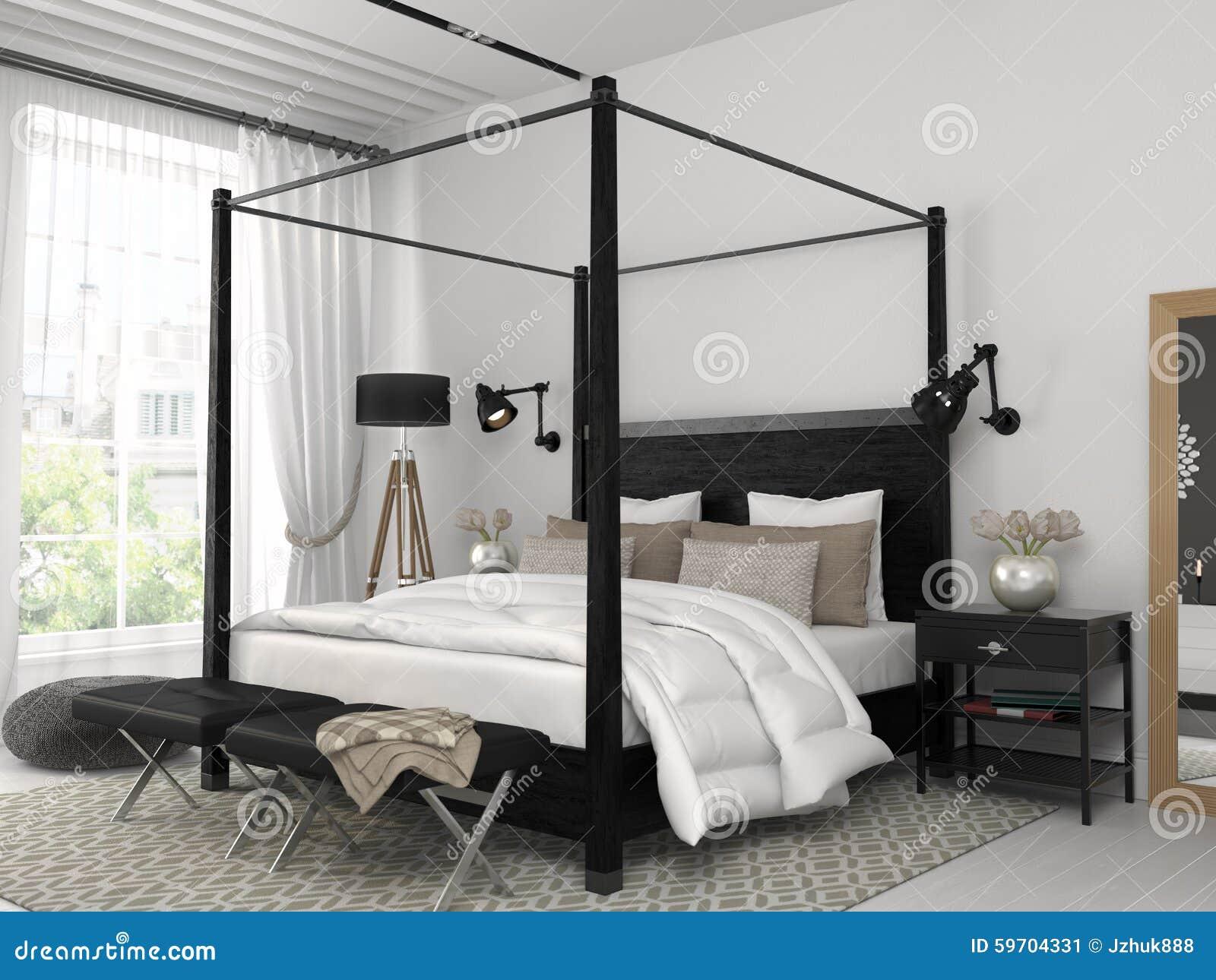 Chambre à coucher blanche avec le lit noir photo stock   image ...