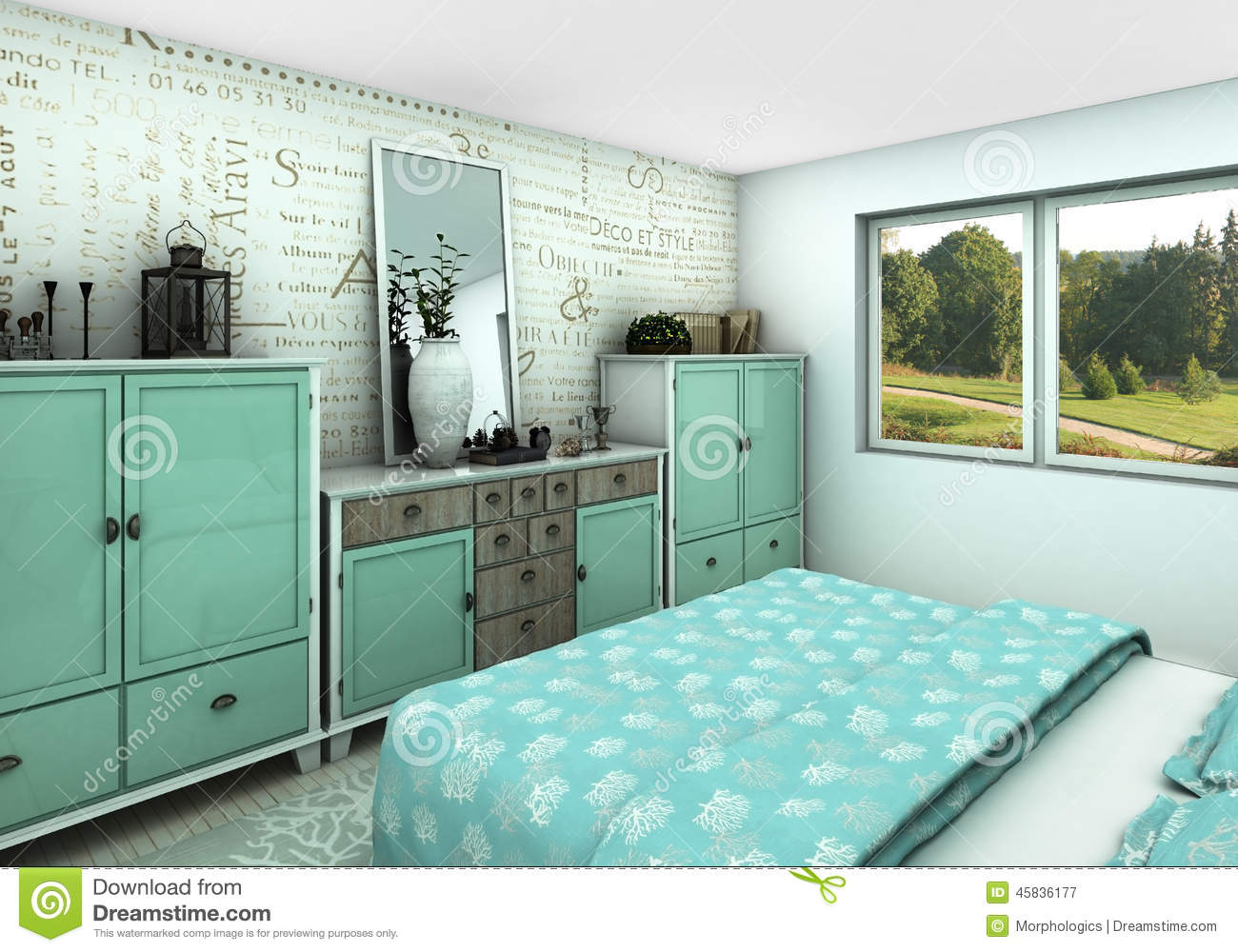 Chambre turquoise et blanc for Chambre turquoise