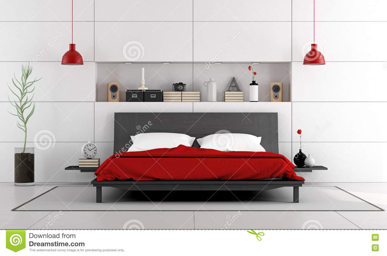 chambre coucher contemporaine avec le double lit illustration stock image 74909014. Black Bedroom Furniture Sets. Home Design Ideas