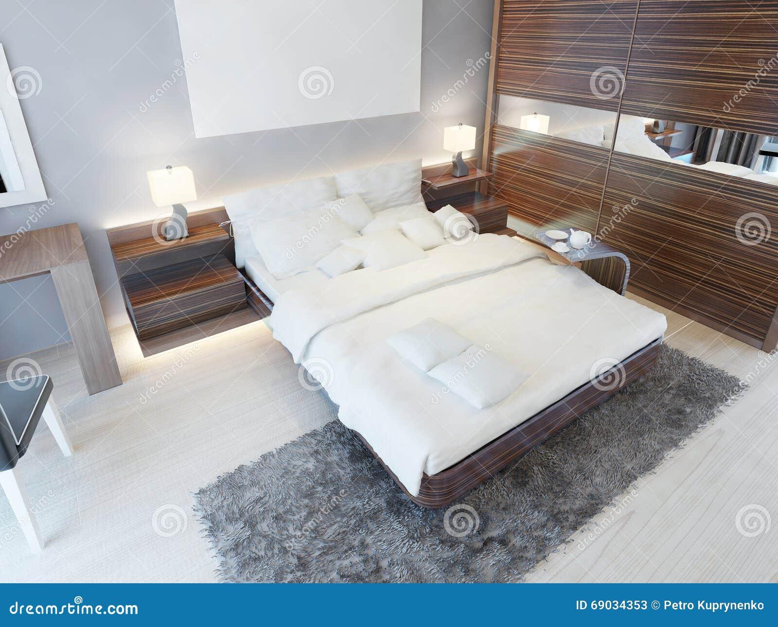 Chambre à coucher contemporaine dans des couleurs lumineuses avec ...