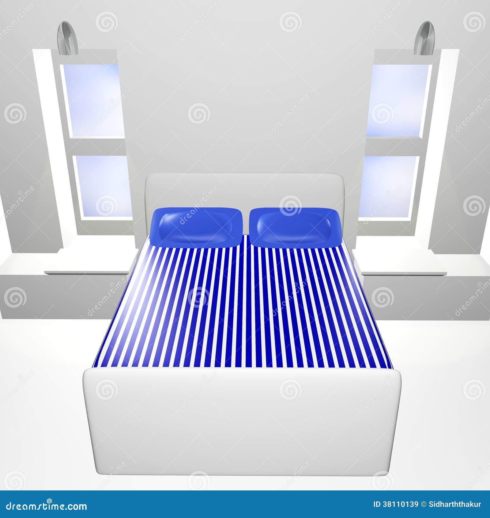 Chambre coucher 3d blanche avec le couvre lit bleu for Chambre a coucher 3d