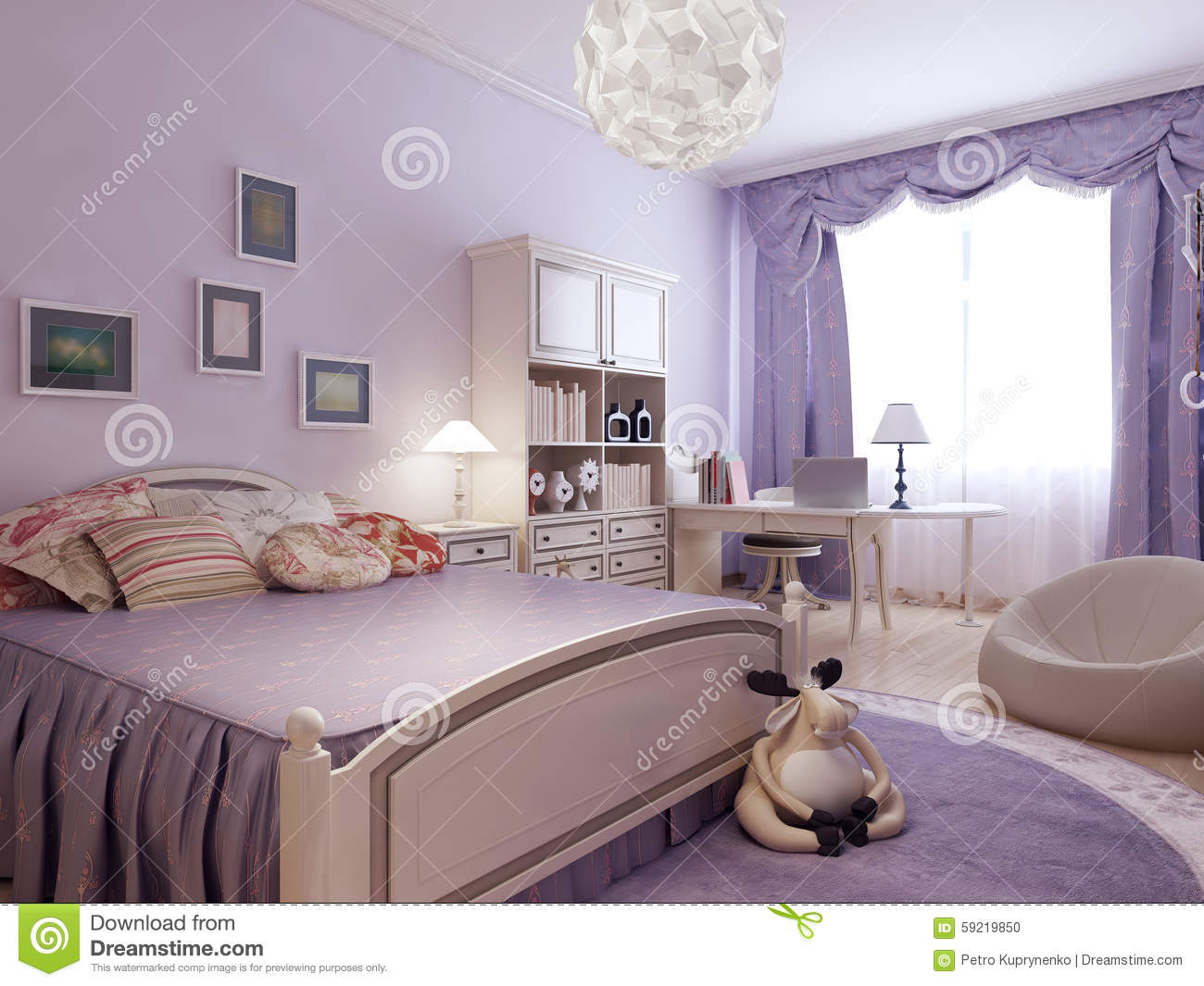 chambre coucher de confort pour la fille d 39 adolescent illustration stock image 59219850. Black Bedroom Furniture Sets. Home Design Ideas