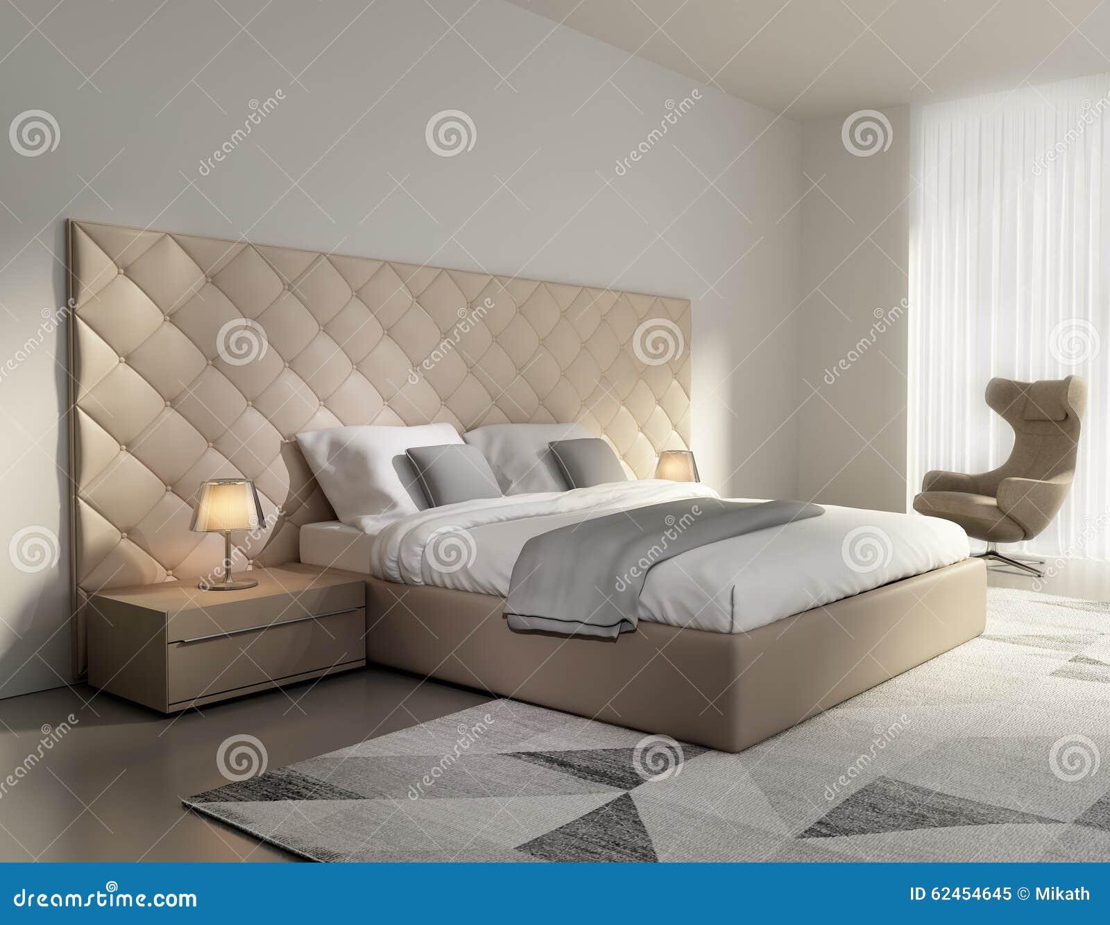 Chambre à coucher en cuir beige de luxe élégante contemporaine ...