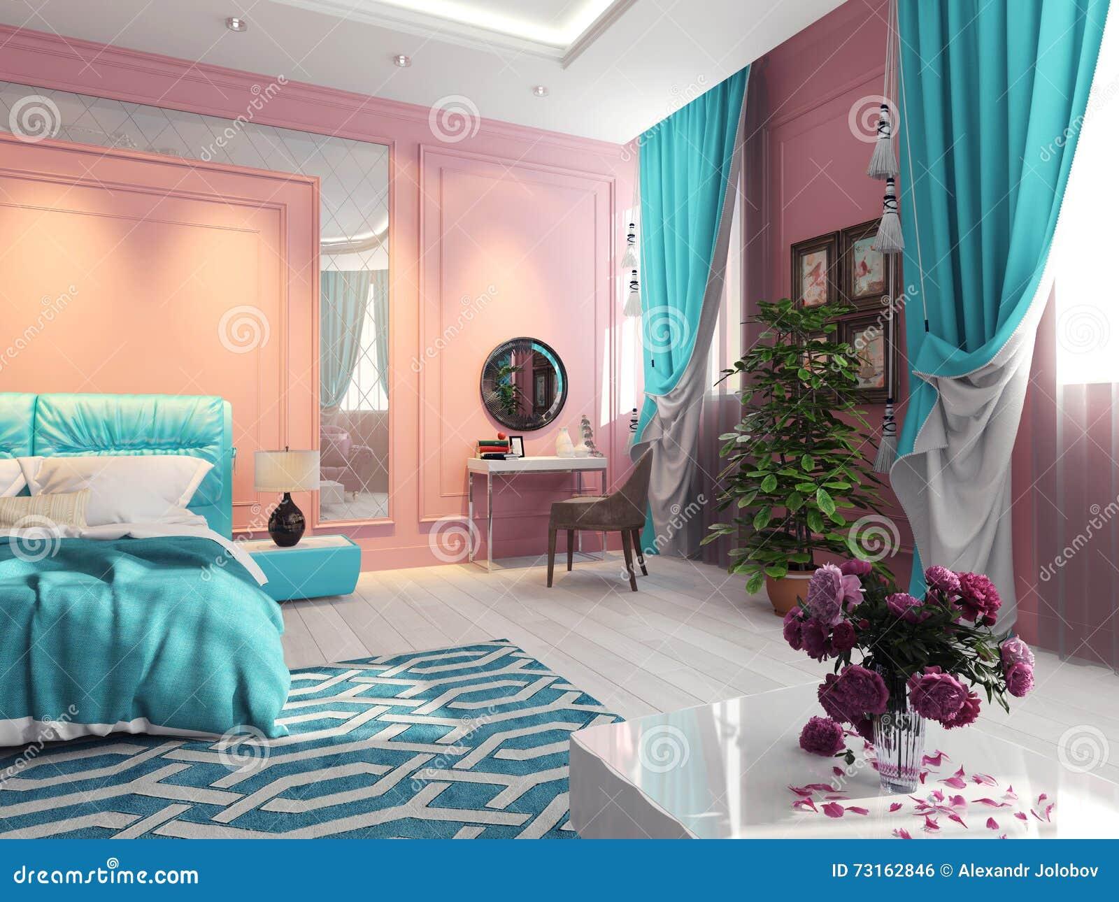 Chambre à coucher de turquoise avec la coiffeuse et la garde robe ...