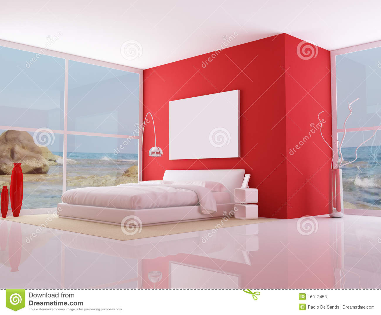 Chambre coucher minimaliste rouge photos stock image 16012453 - Chambre a coucher rouge ...