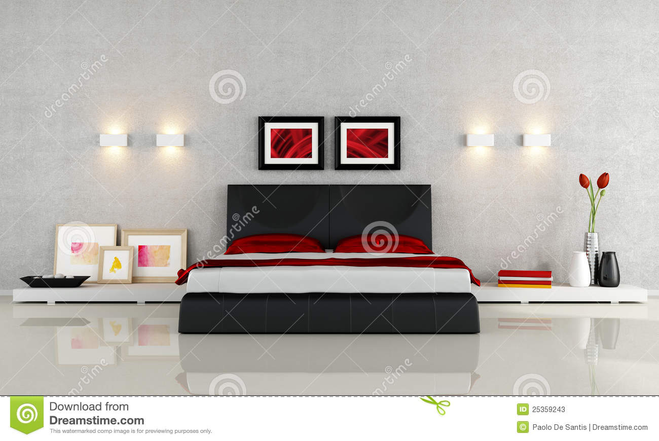 Chambre coucher moderne photos stock image 25359243 - Chambre a coucher rouge ...